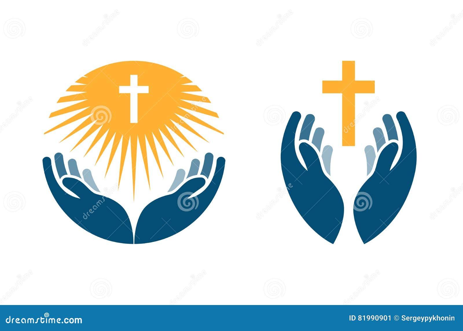 Hände, die Kreuz, Ikonen oder Symbole halten Religion, Kirchenvektorlogo