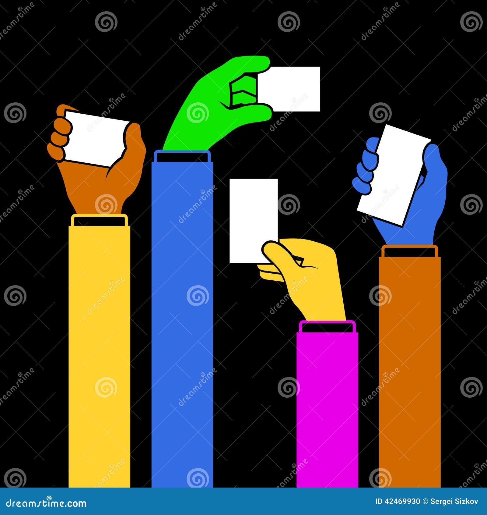 Hände, die leere Visitenkarte, Vektor halten