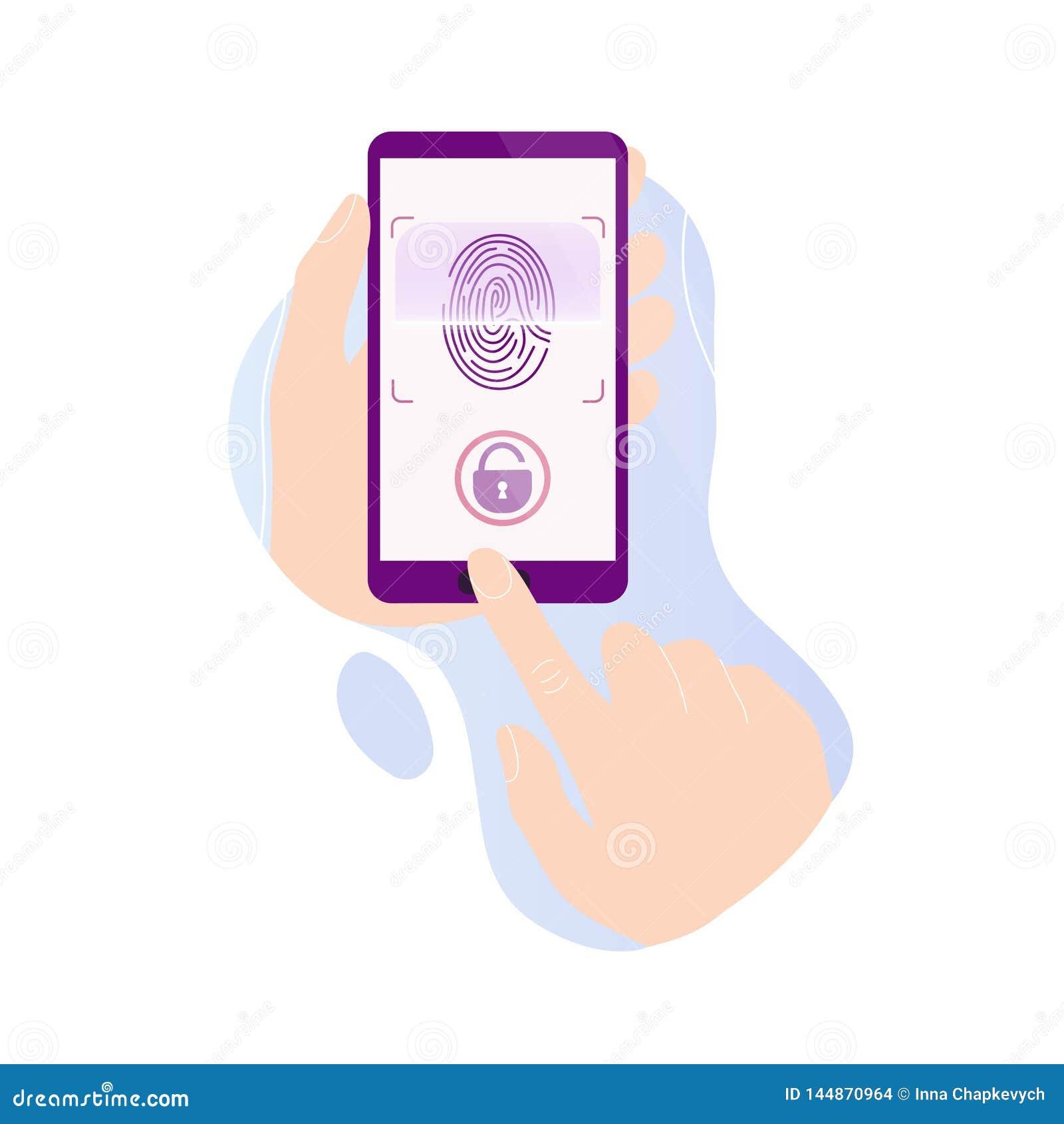 H?nde, die Telefon mit Fingerabdruckscan halten