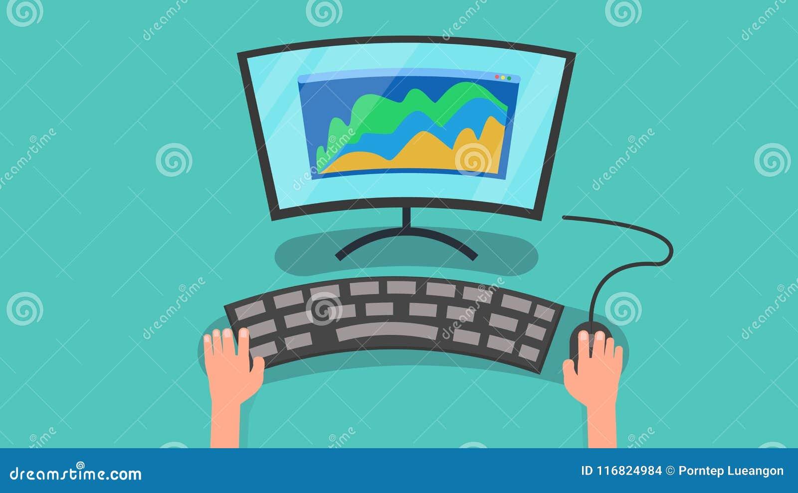 Hände unter Verwendung des Computers mit Diagramm der Geschäftsmarketing-Vektorillustration Personal-Computer- und Informationen