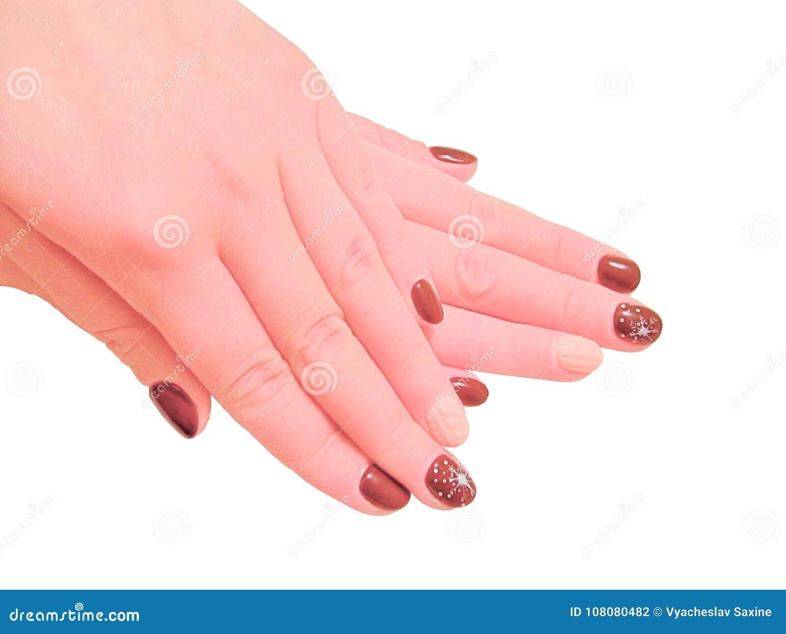 Händer för kvinna` s med manikyr