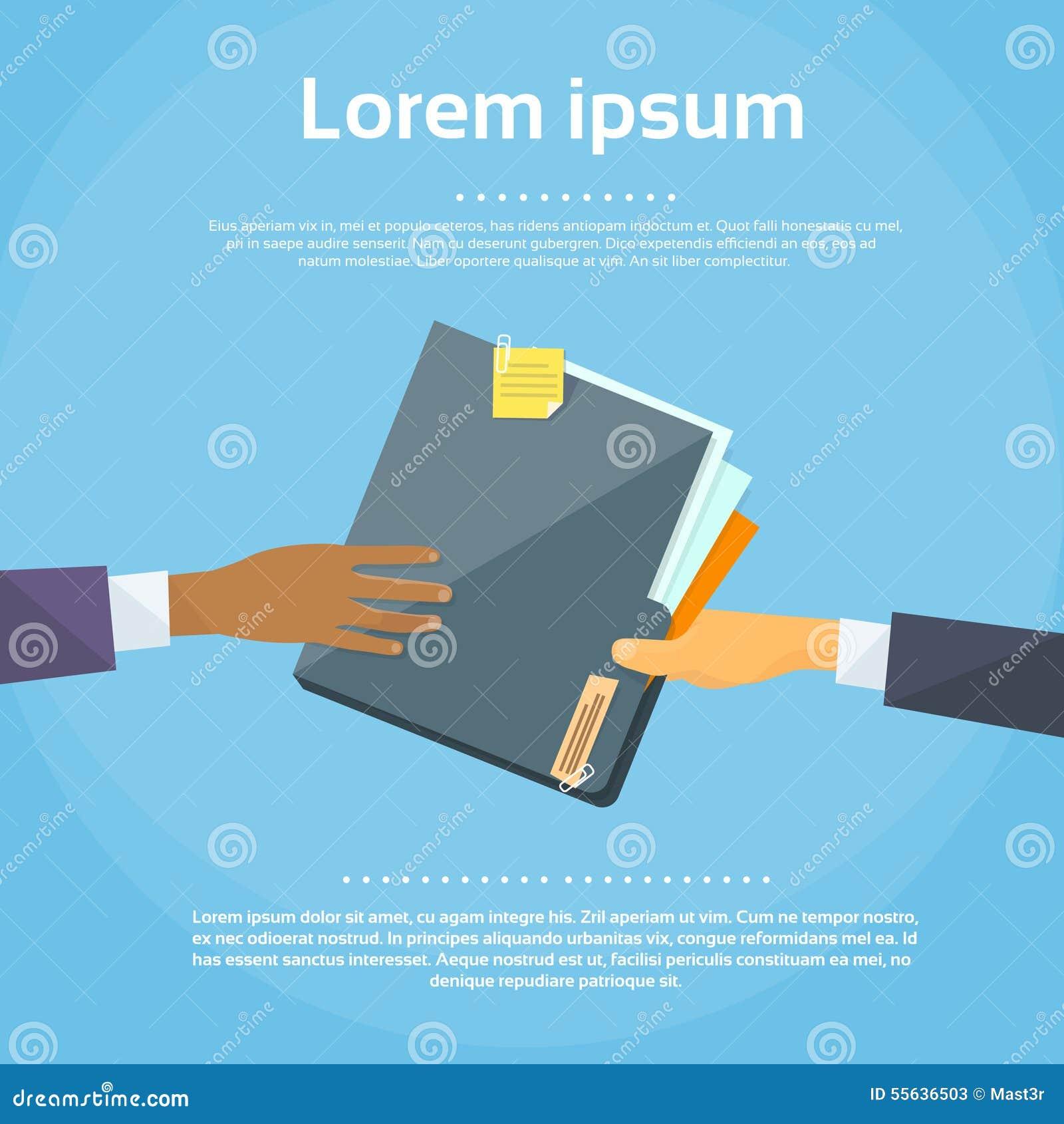 Händer ger mappdokumentlegitimationshandlingar, begrepp