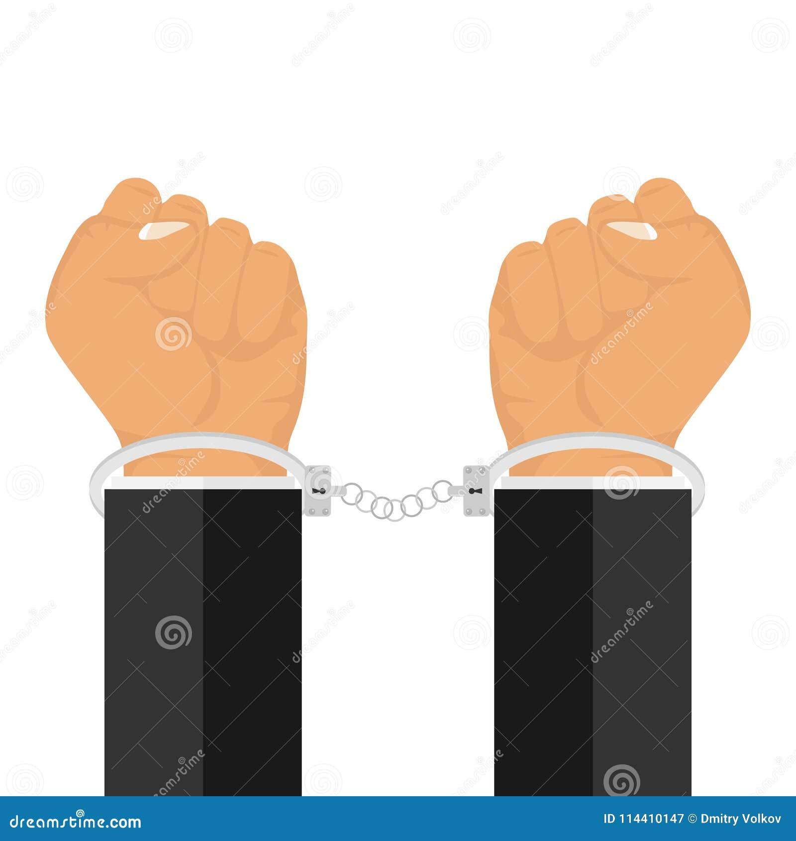 Händer i handbojor Manschetter handfängslas