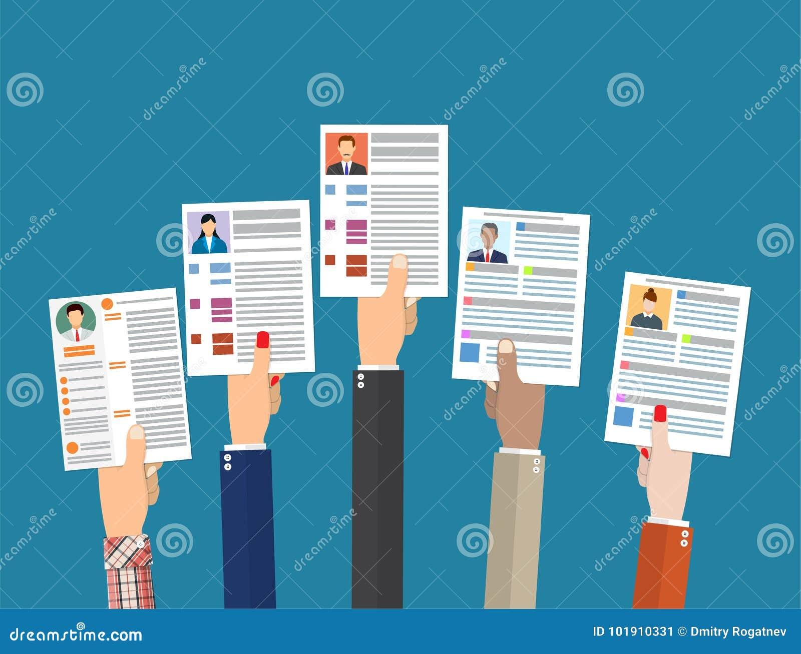 Händer som rymmer CV-meritförteckningdokument