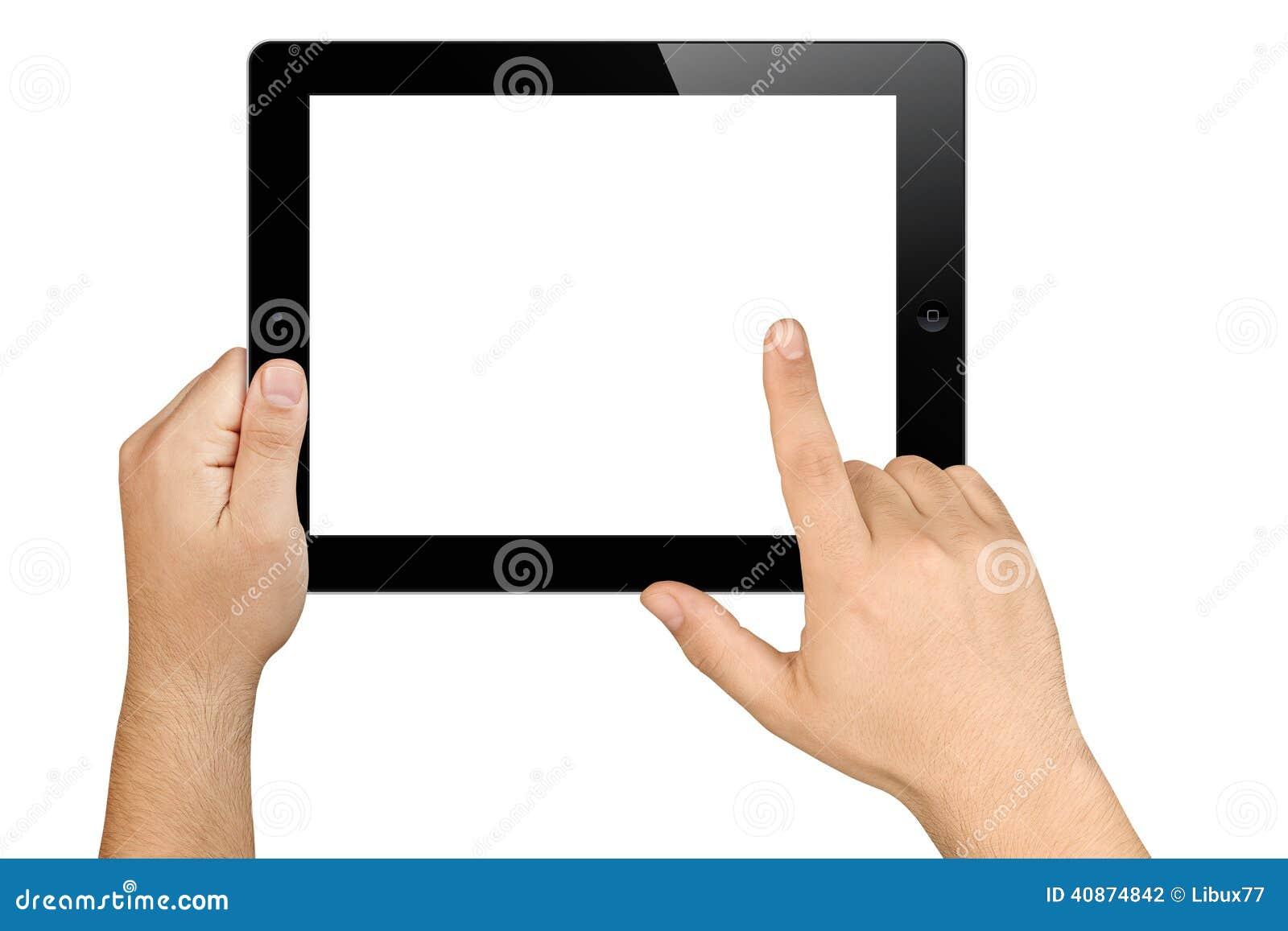Händer som rymmer funktionsduglig minnestavlaPC för tom skärm