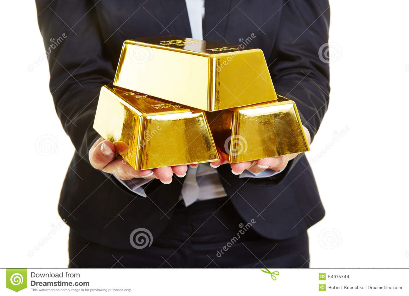 Händer som rymmer guld- stänger