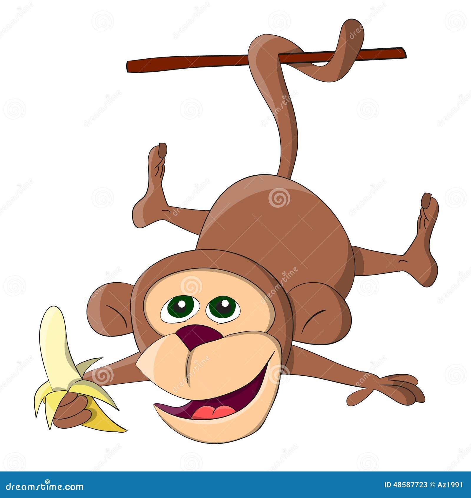 Hängande apa för gullig ovanlig vektor med bananen