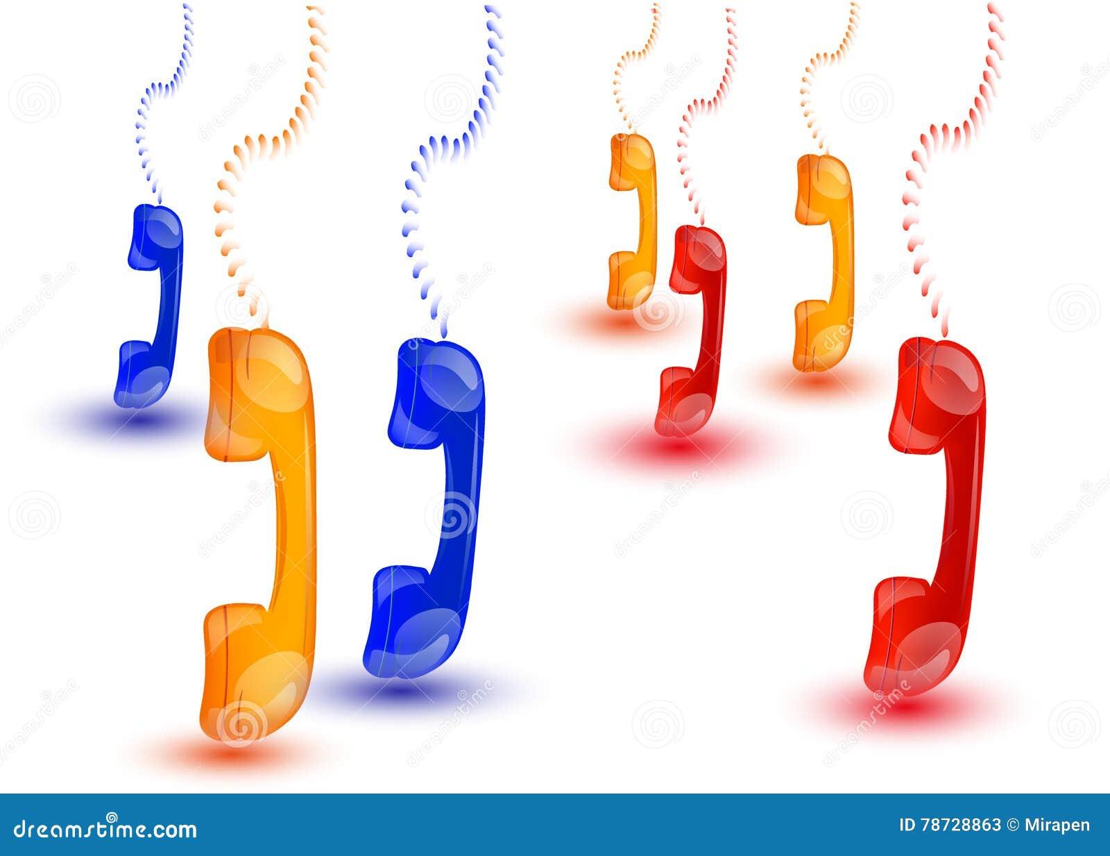 Hängande färgade telefontelefonlurar