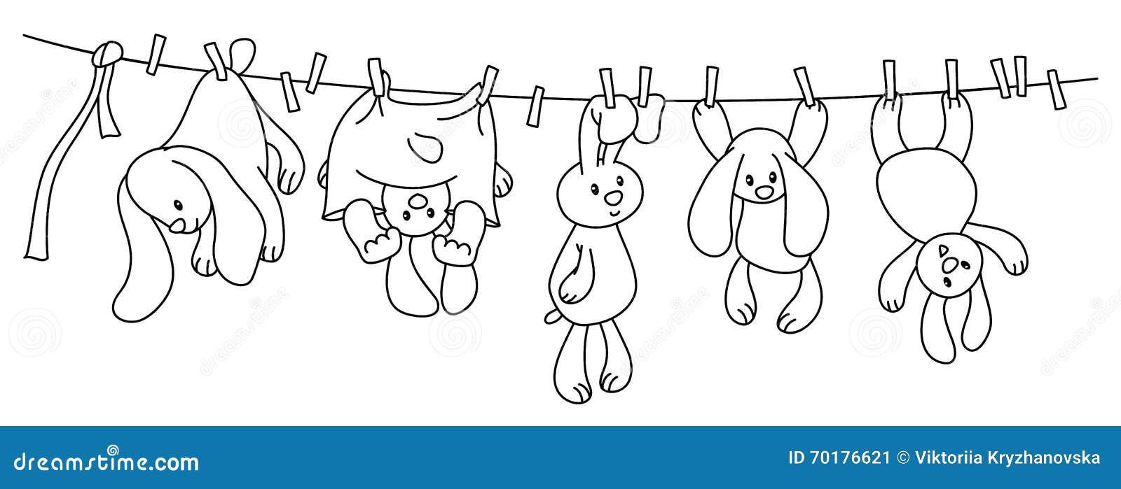 Hängande kaniner för vektor