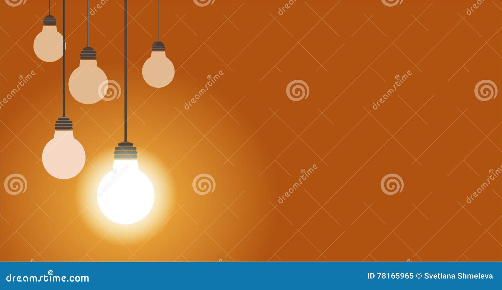 Hängande ljusa kulor en av dem glöd, illustration