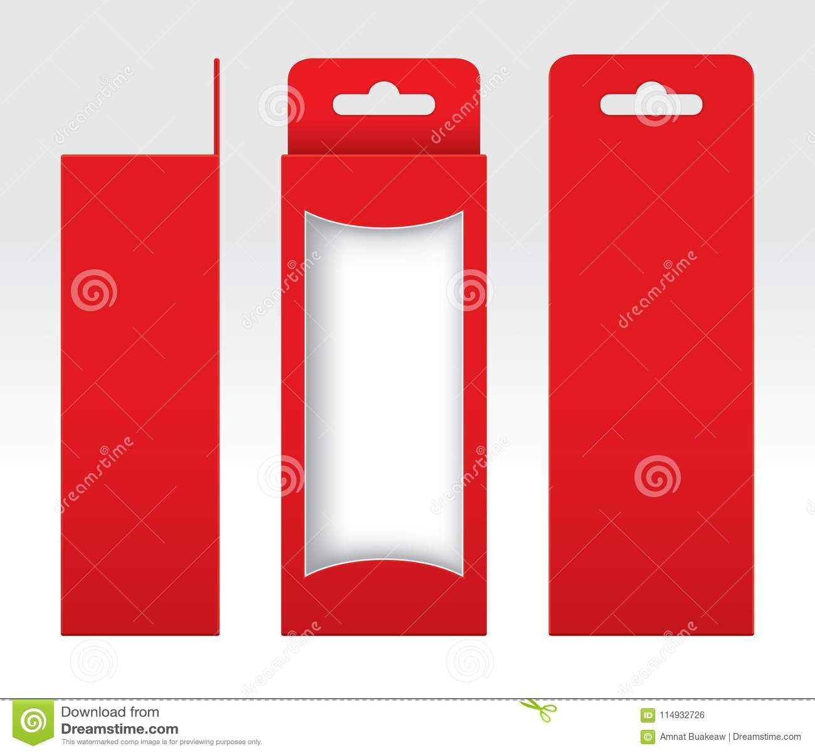 Hängande rött klippt förpackande mallmellanrum ut för ask fönster, röd papp för tom ask, för kraft för gåvaaskar högvärdigt rött