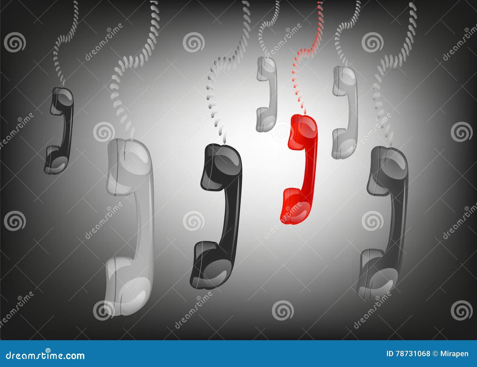 Hängande telefontelefonlurar i svart bakgrund,