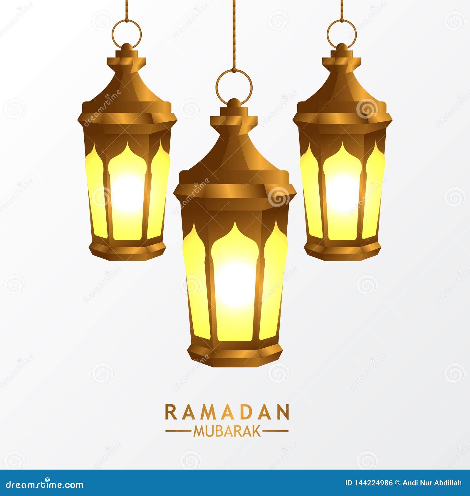 Hängd guld- realistisk fanous arabisk lyktalampa för grupp 3D med vit bakgrund för islamisk händelse