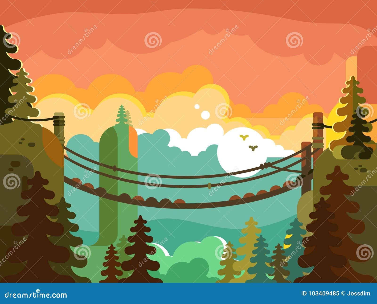 Hängebrücke im Dschungeldesign flach