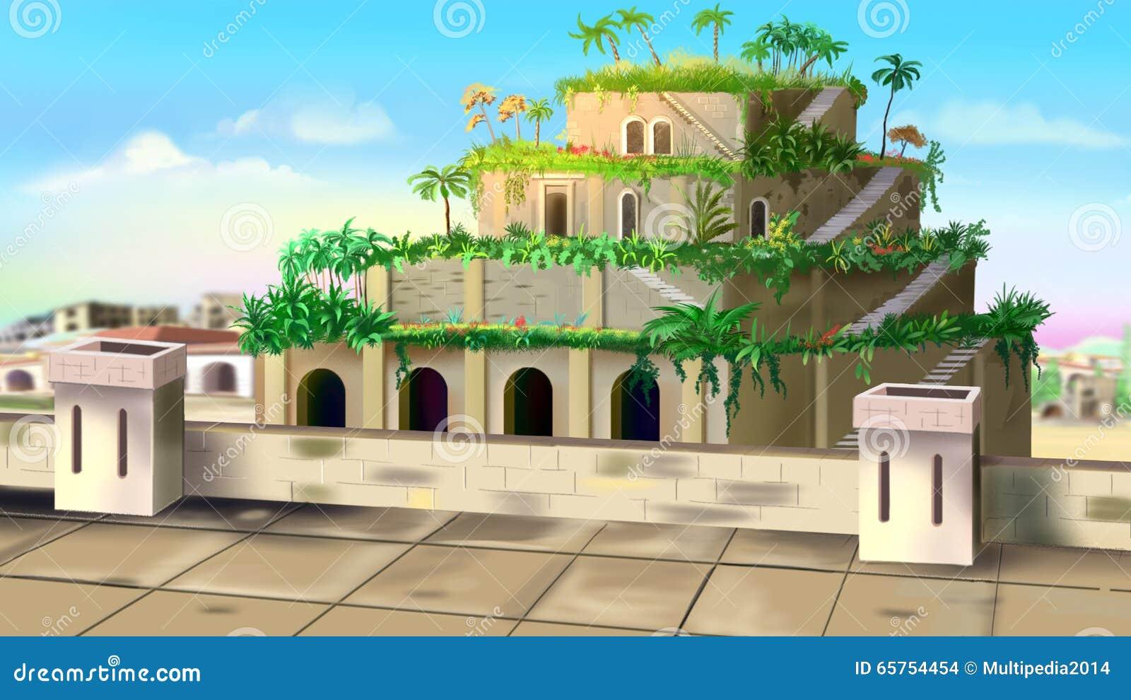 Hängende Gärten Von Babylon Stock Abbildung Illustration Von