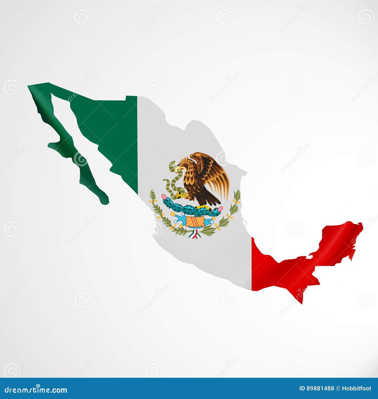 Hängende Mexiko-Flagge In Der Form Der Karte Vereinigte Mexikanische ...