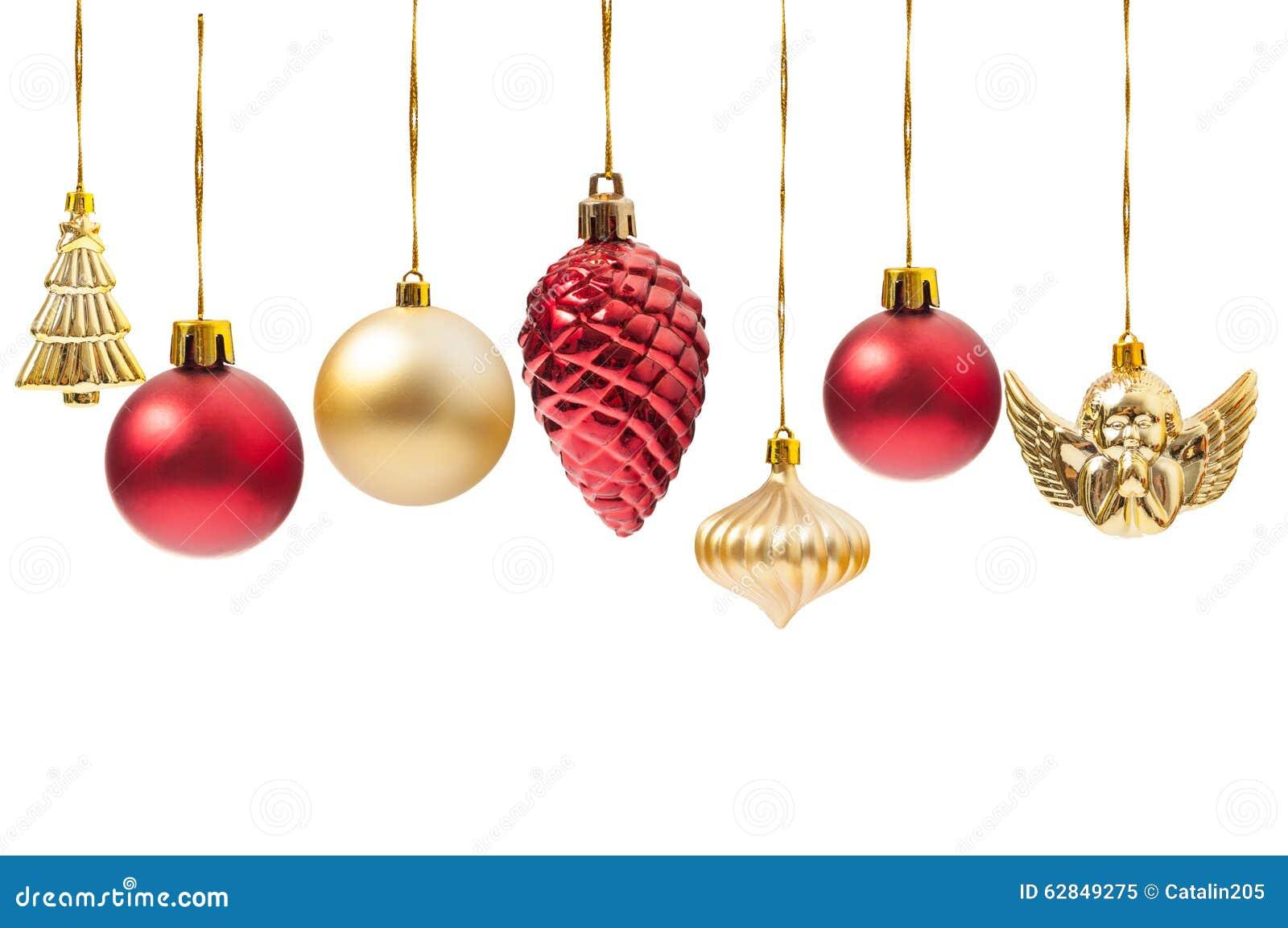 H ngende weihnachtskugeln oder verschiedene dekorationen stockbild bild von golden - Bilder weihnachtskugeln ...