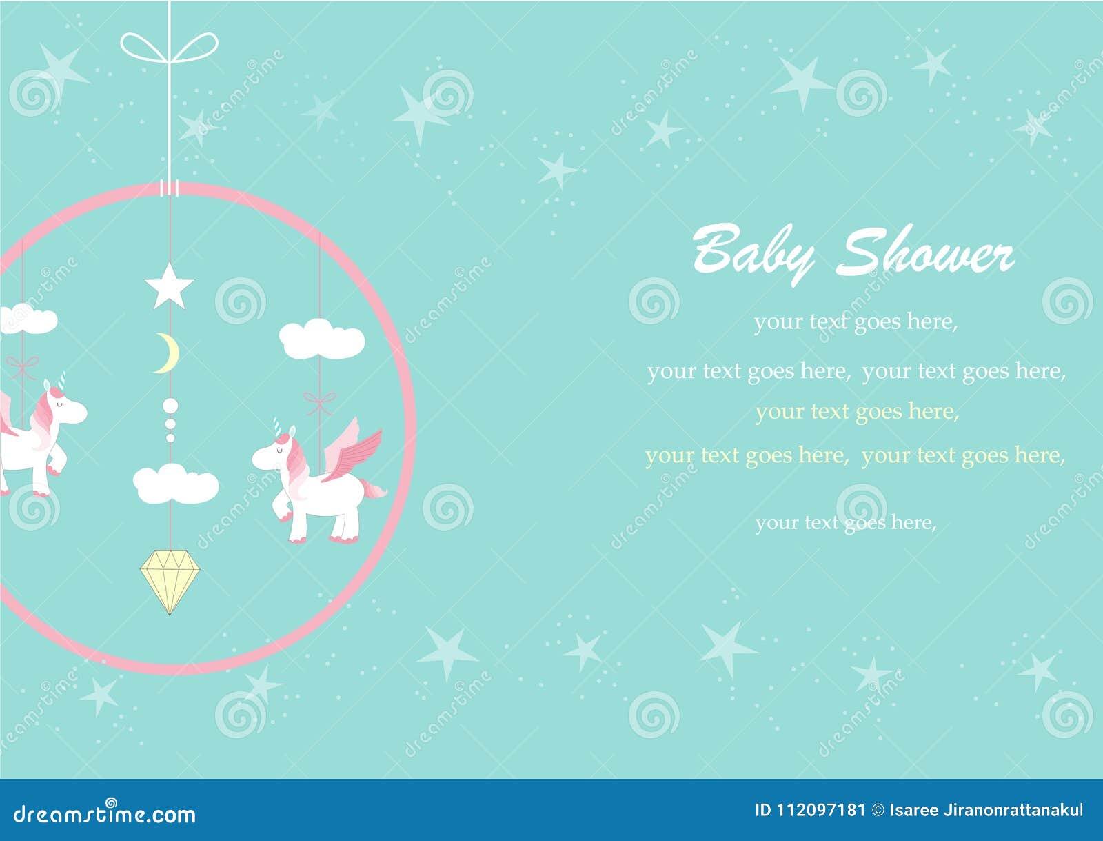 Hängendes Spielzeug der Babykrippe auf grünen Hintergründen, Design für Babypartyeinladungen, Horn, Einhörner, Karikatur, Karten,