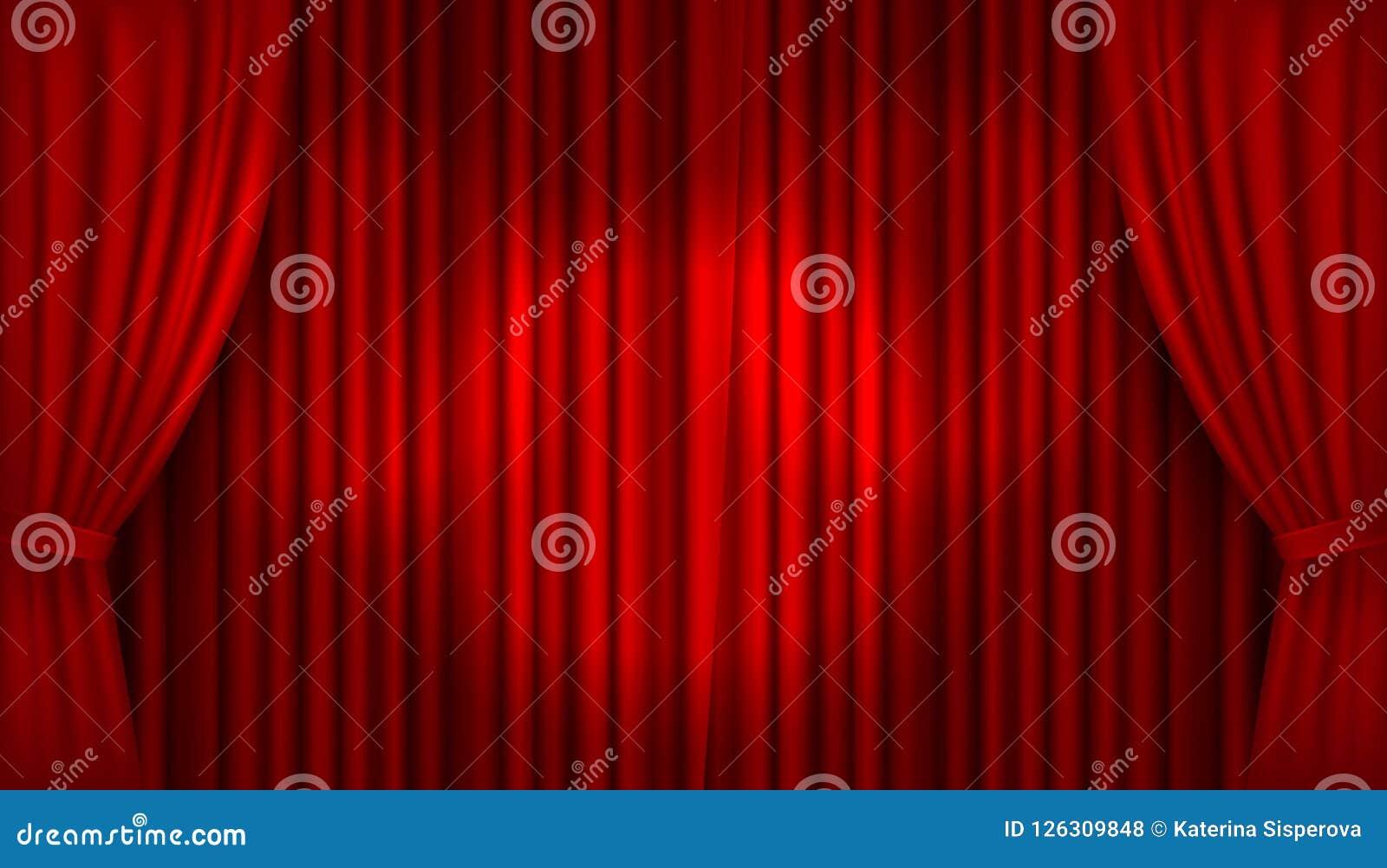 Hänger upp gardiner den realistiska upplysta etappen för vektorn med öppen röd sammet