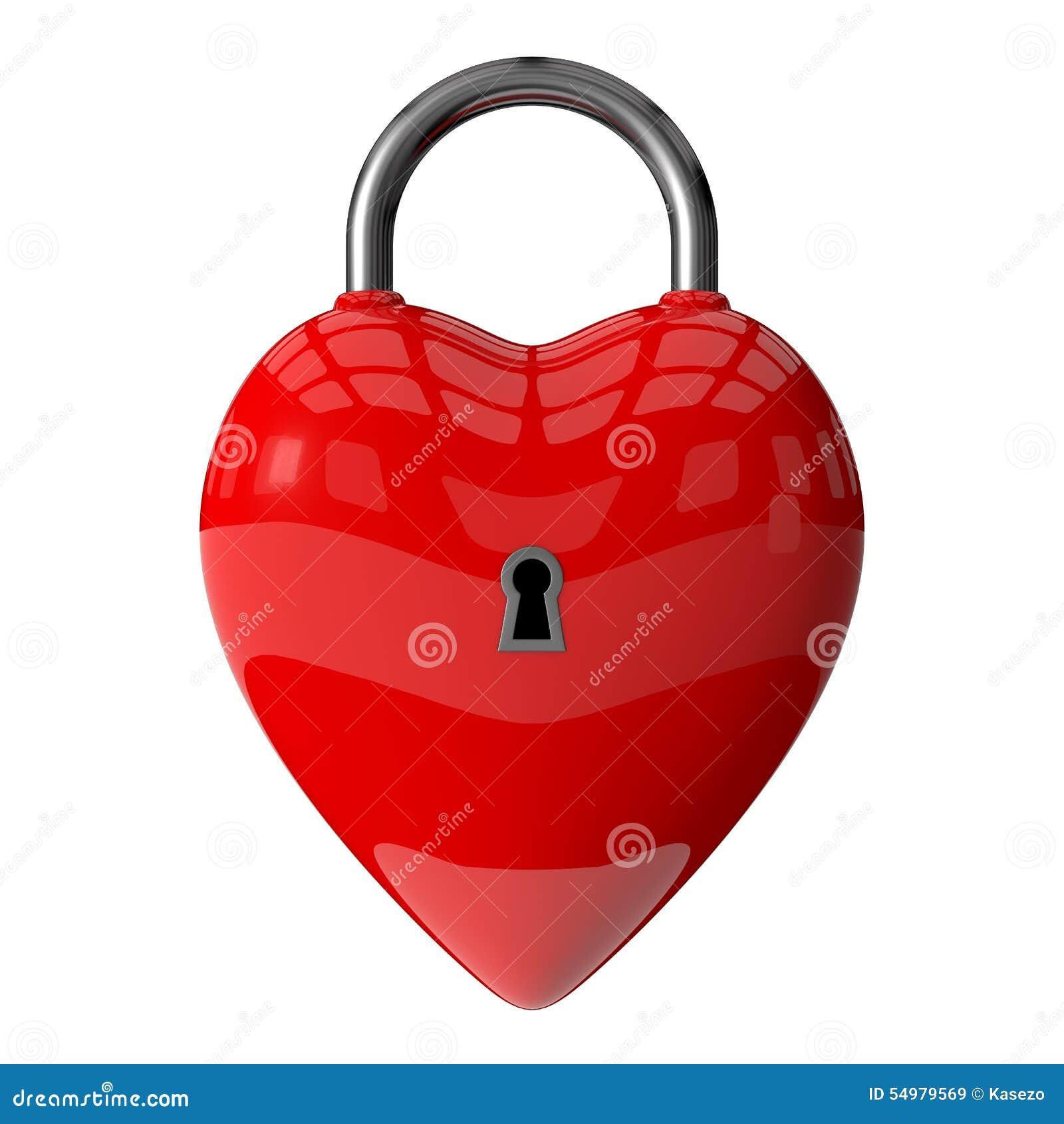 Hänglås av röd hjärta