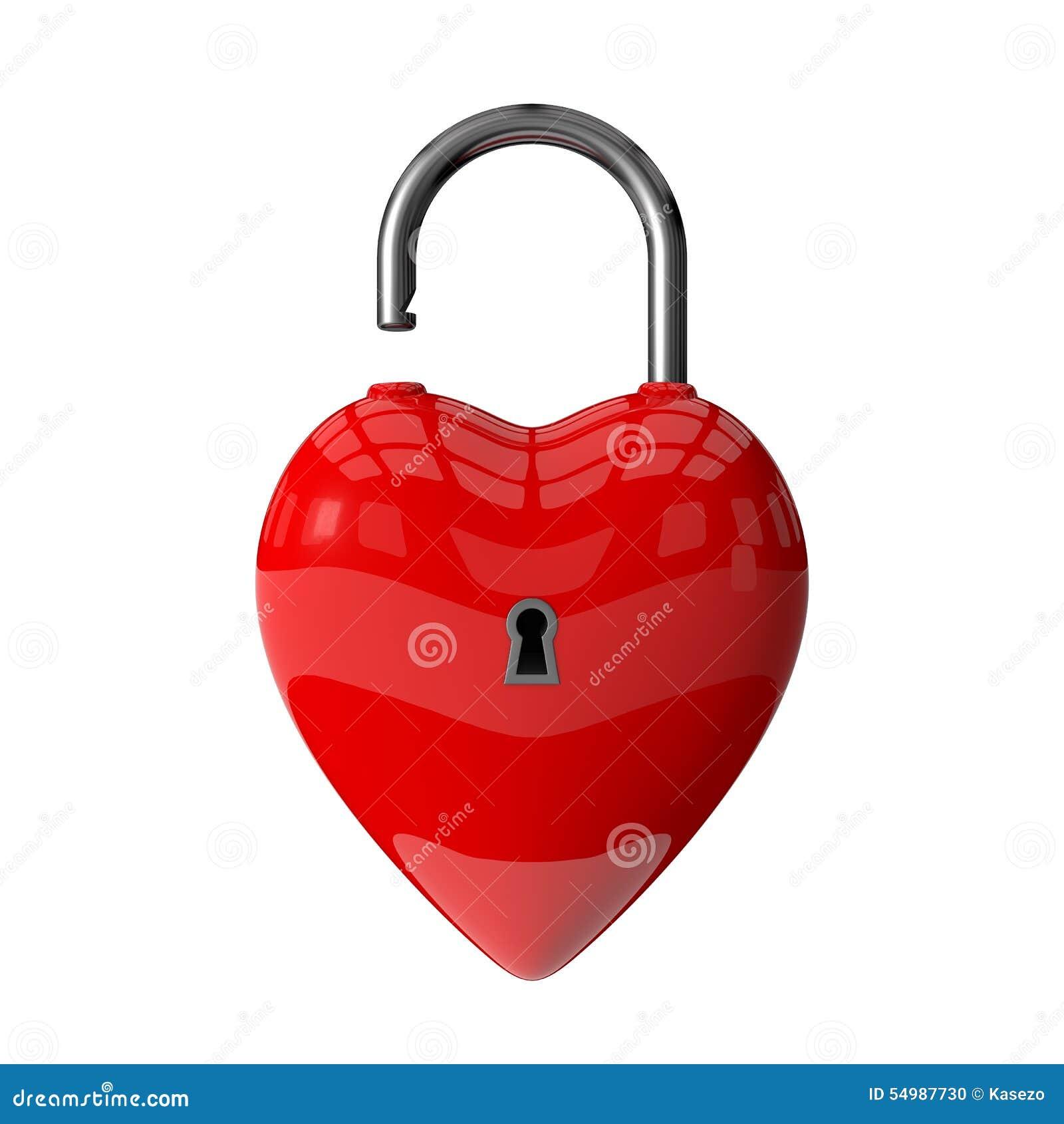 Hänglås 3d av röd hjärta