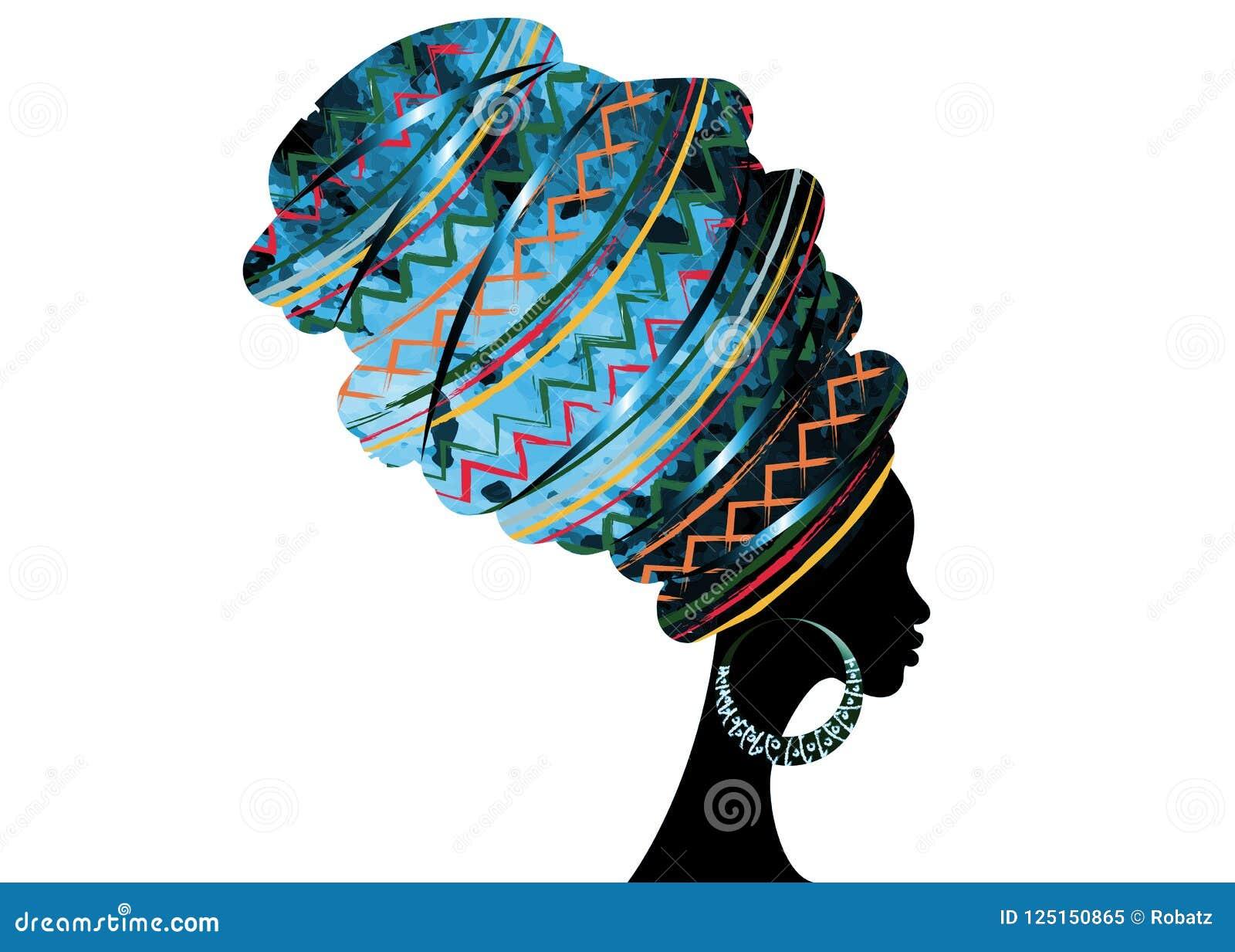 Härlig afrikansk kvinna för stående i för Kente för traditionell turban den röda afrikanen för sjal huvud, traditionell dashikipr