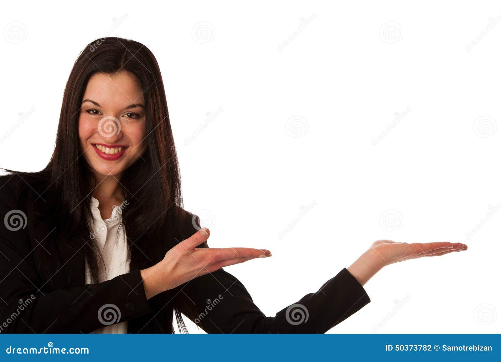 Härlig asiatisk affärskvinna som pekar in i kopieringsutrymme - försäljningar