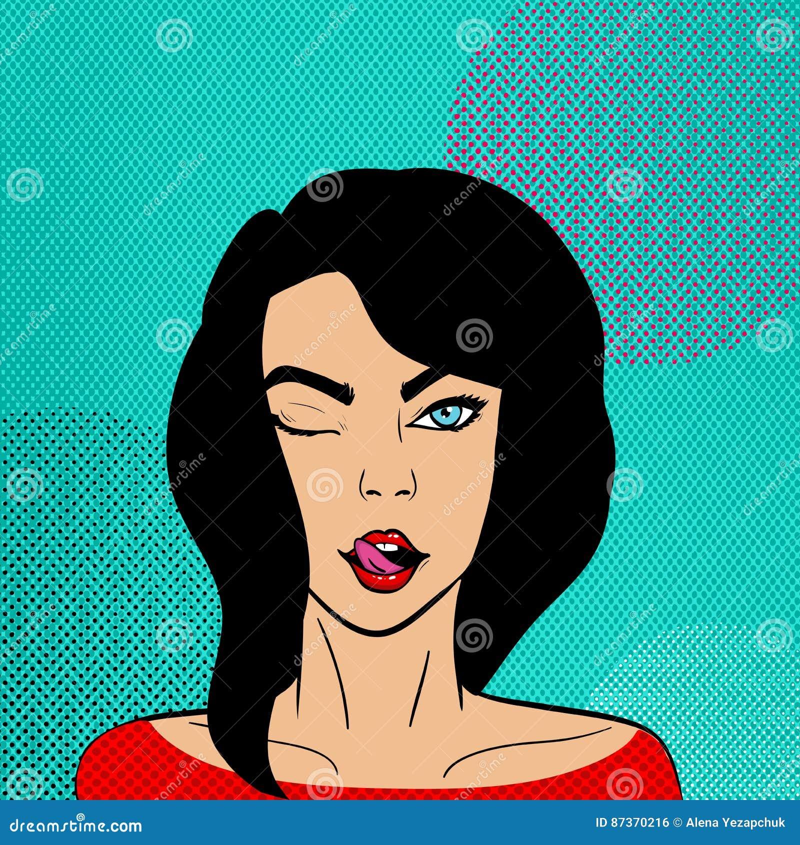Härlig brunettkvinna i stil för popkonst