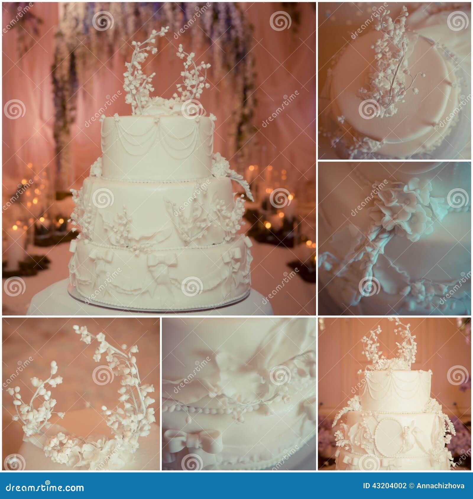 Download Härlig cakebröllopwhite arkivfoto. Bild av blomma, blom - 43204002