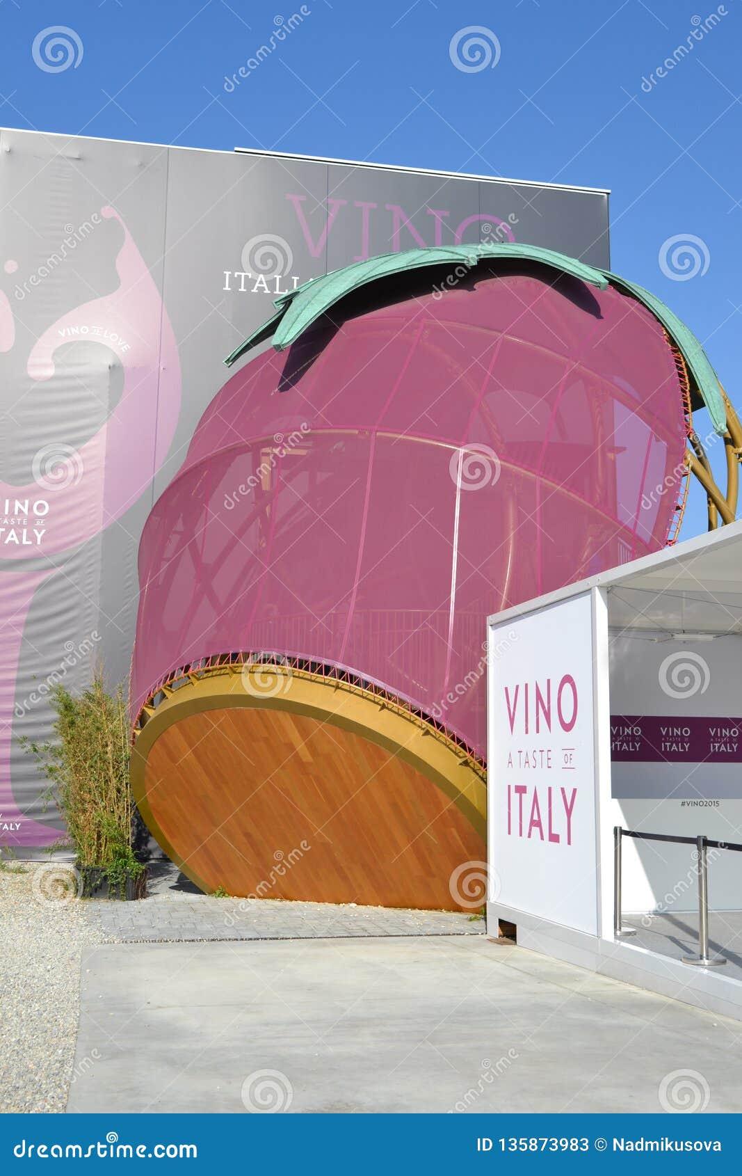 Härlig design av den italienska vinpaviljongen av expon Milano 2015