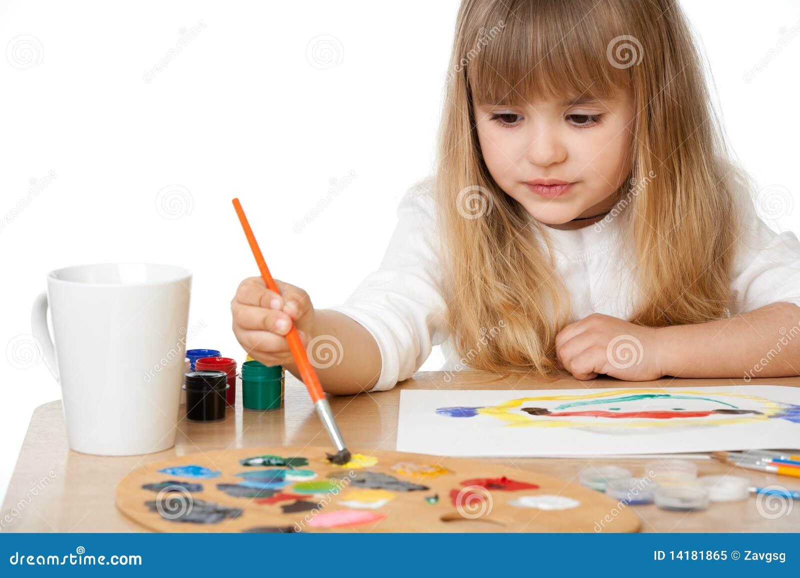 Härlig flicka little målning