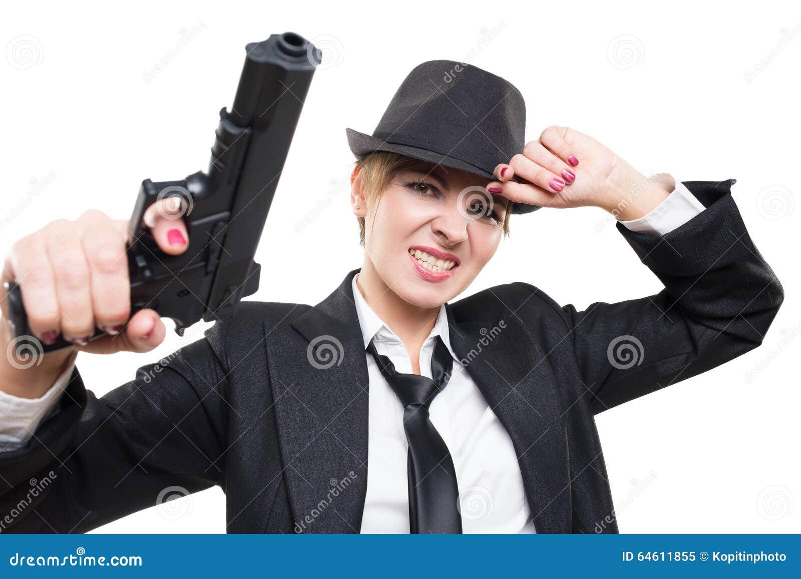 Härlig flickagangster som rymmer ett vapen klassiskt