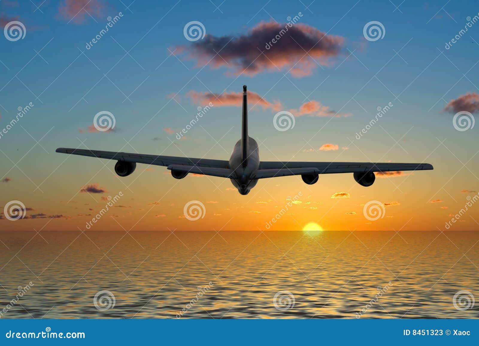 Härlig flygsolnedgång för flygplan