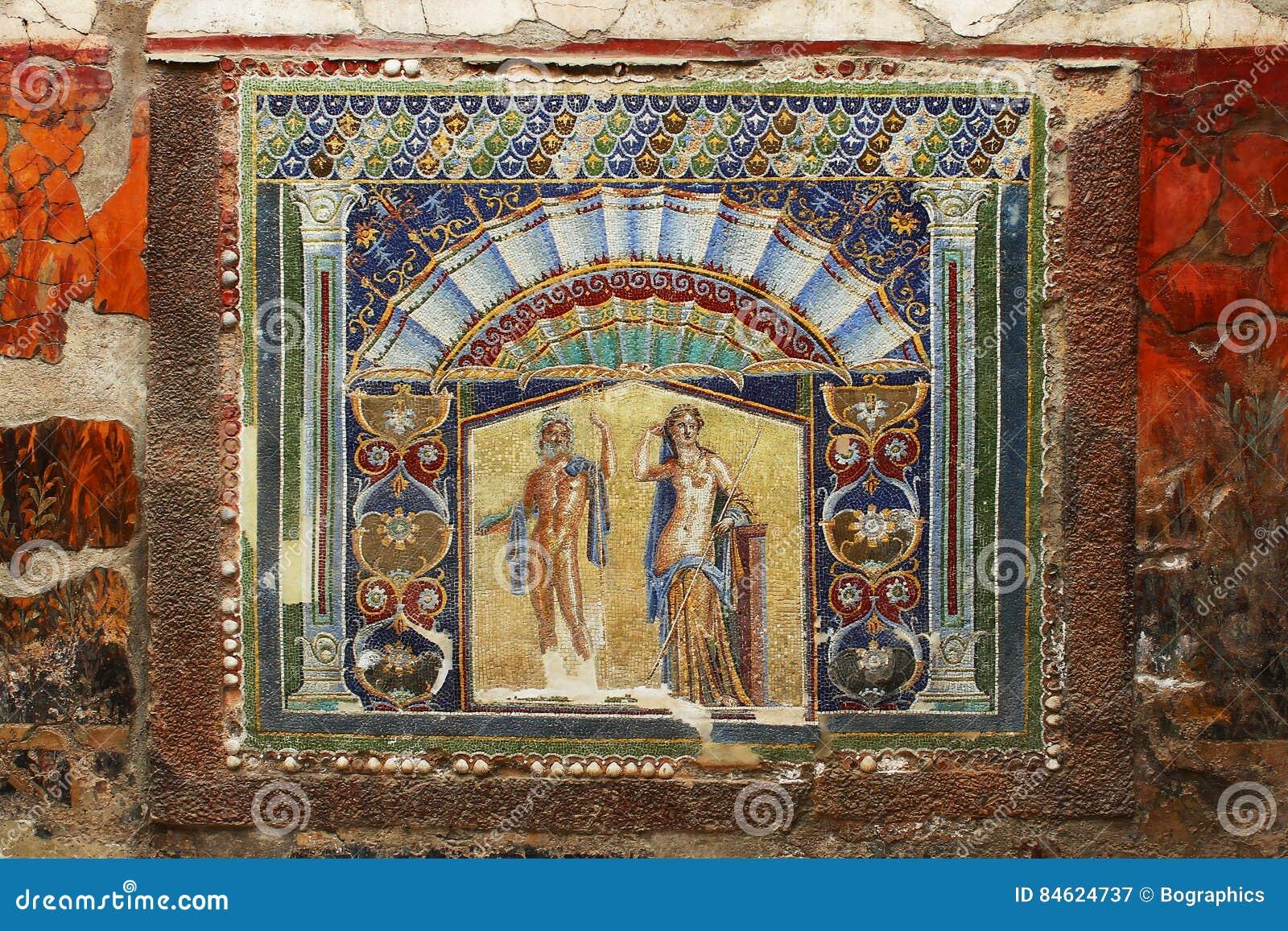 Härlig forntida mosaik från den Herculaneum freskomålningen av Neptun
