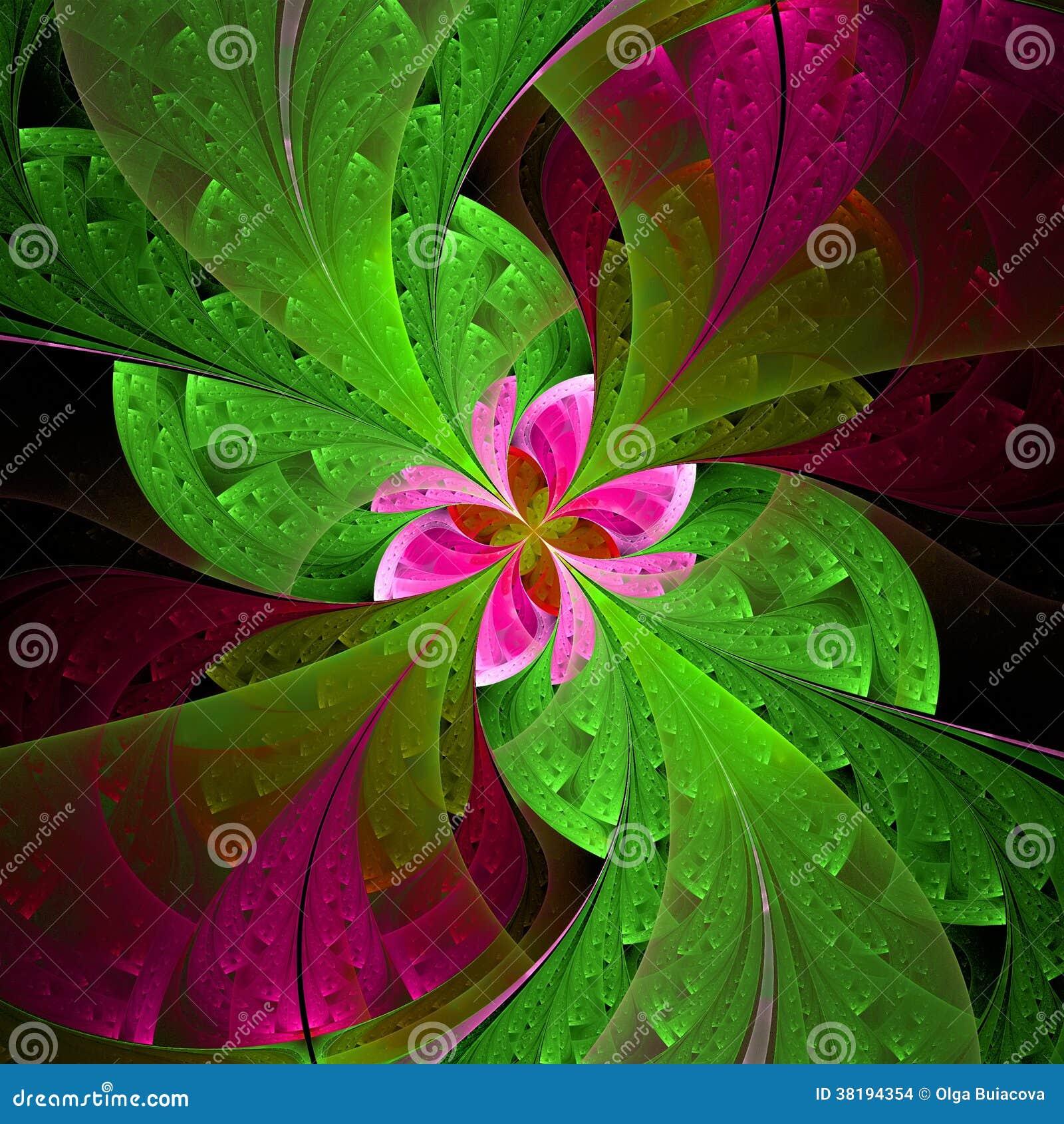 Härlig fractalblomma i gräsplan och rosa färger. Dator frambragt G