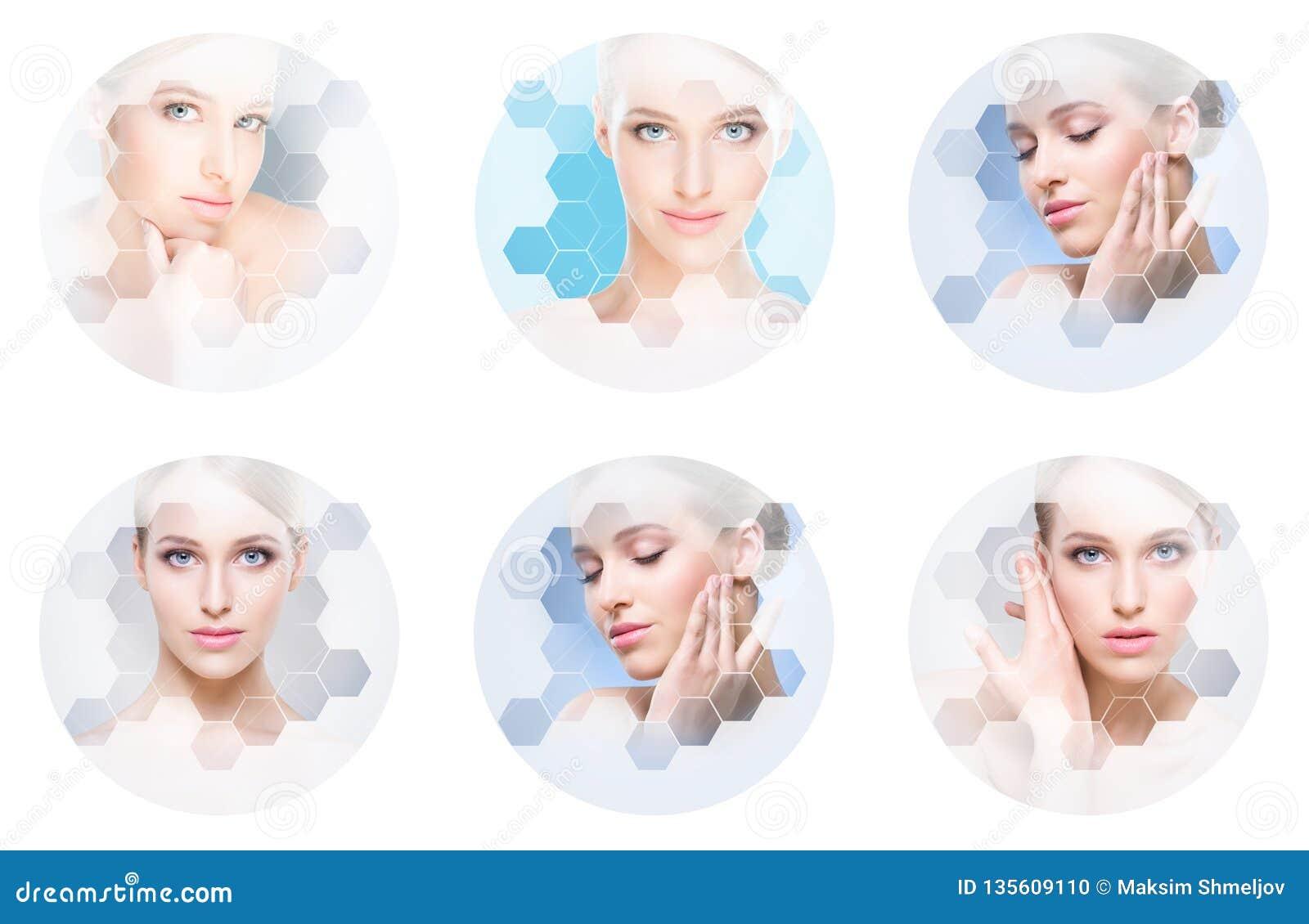 Härlig framsida av den unga och sunda flickan i collage Plastikkirurgi, hudomsorg, skönhetsmedel och begrepp för lyfta för framsi
