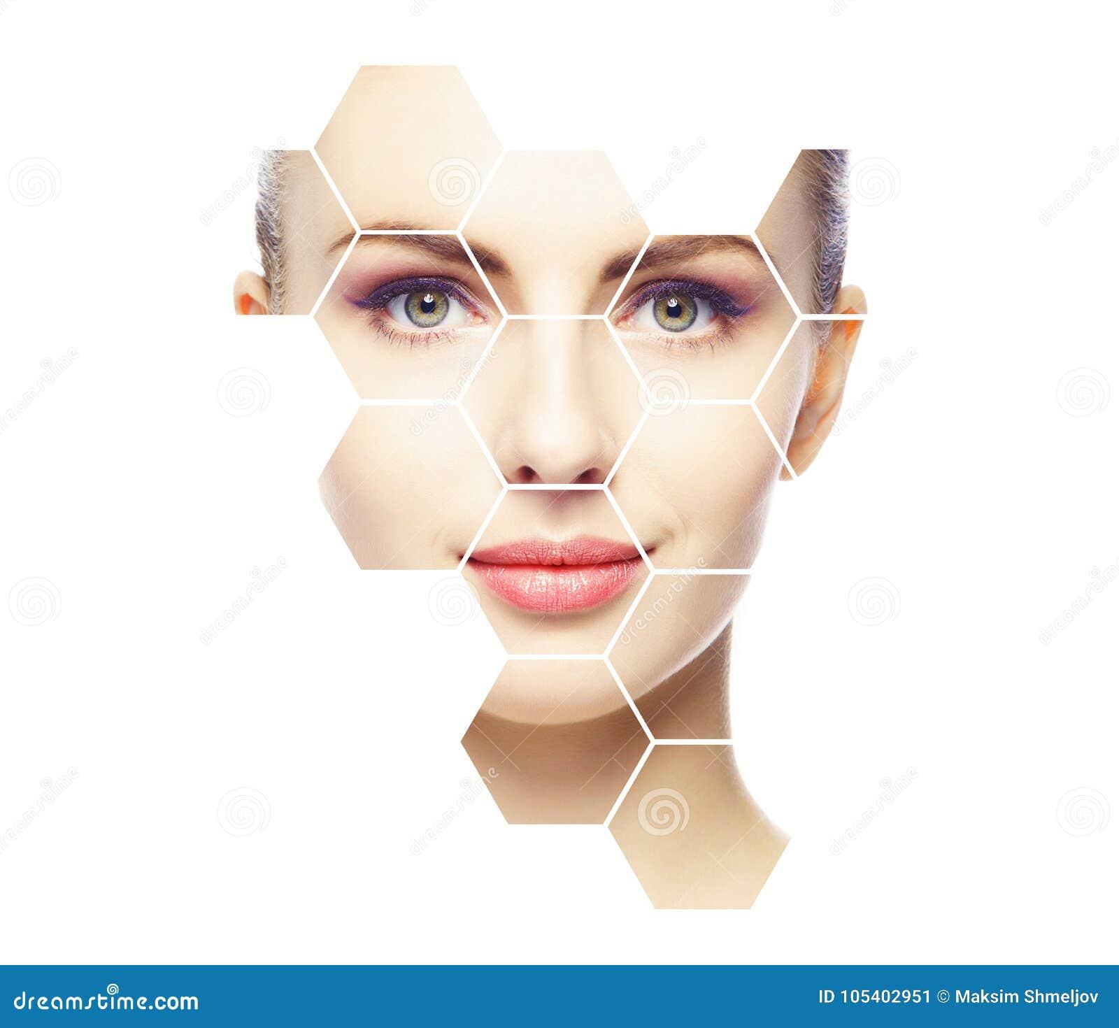 Härlig framsida av den unga och sunda flickan Plastikkirurgi, hudomsorg, skönhetsmedel och begrepp för lyfta för framsida