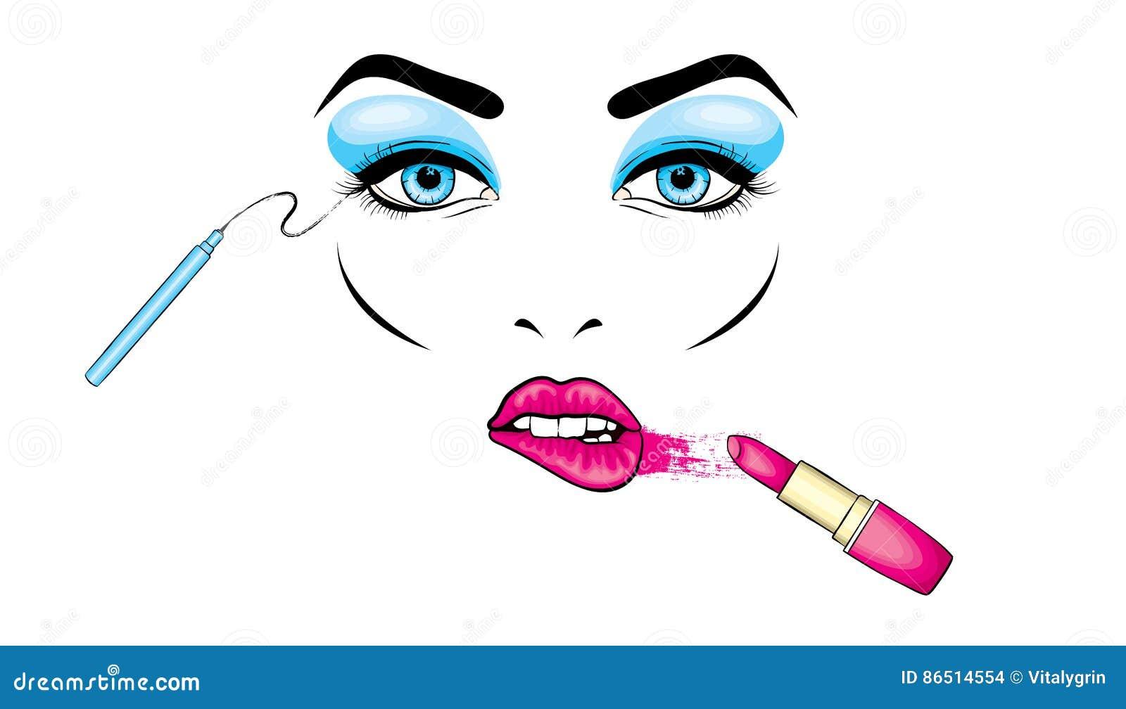 Härlig framsida för kvinna` s med makeup eyes kanter Skönhetsmedel Vektorillustration för ett kort eller en affisch Tryck på kläd
