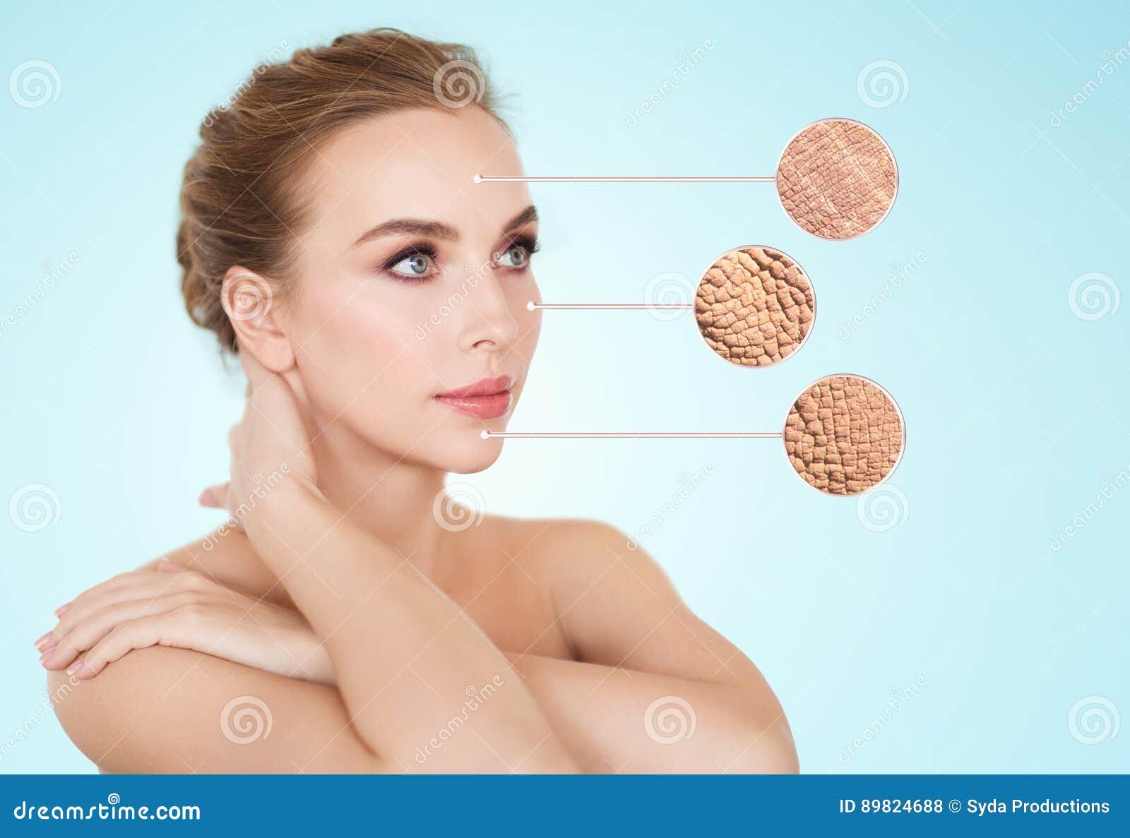 Härlig framsida för ung kvinna med prövkopian för torr hud