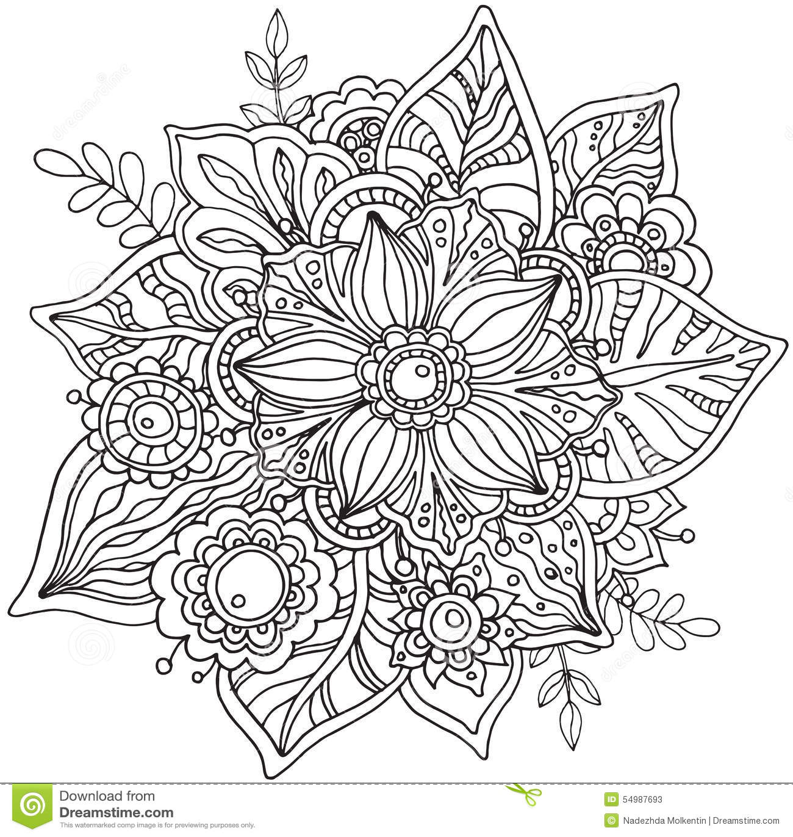 Härlig grafisk blomma i klotterstil