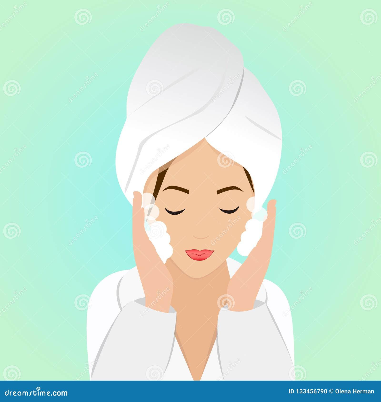 Härlig kvinna i process av att tvätta framsidan i badrock och handduk också vektor för coreldrawillustration