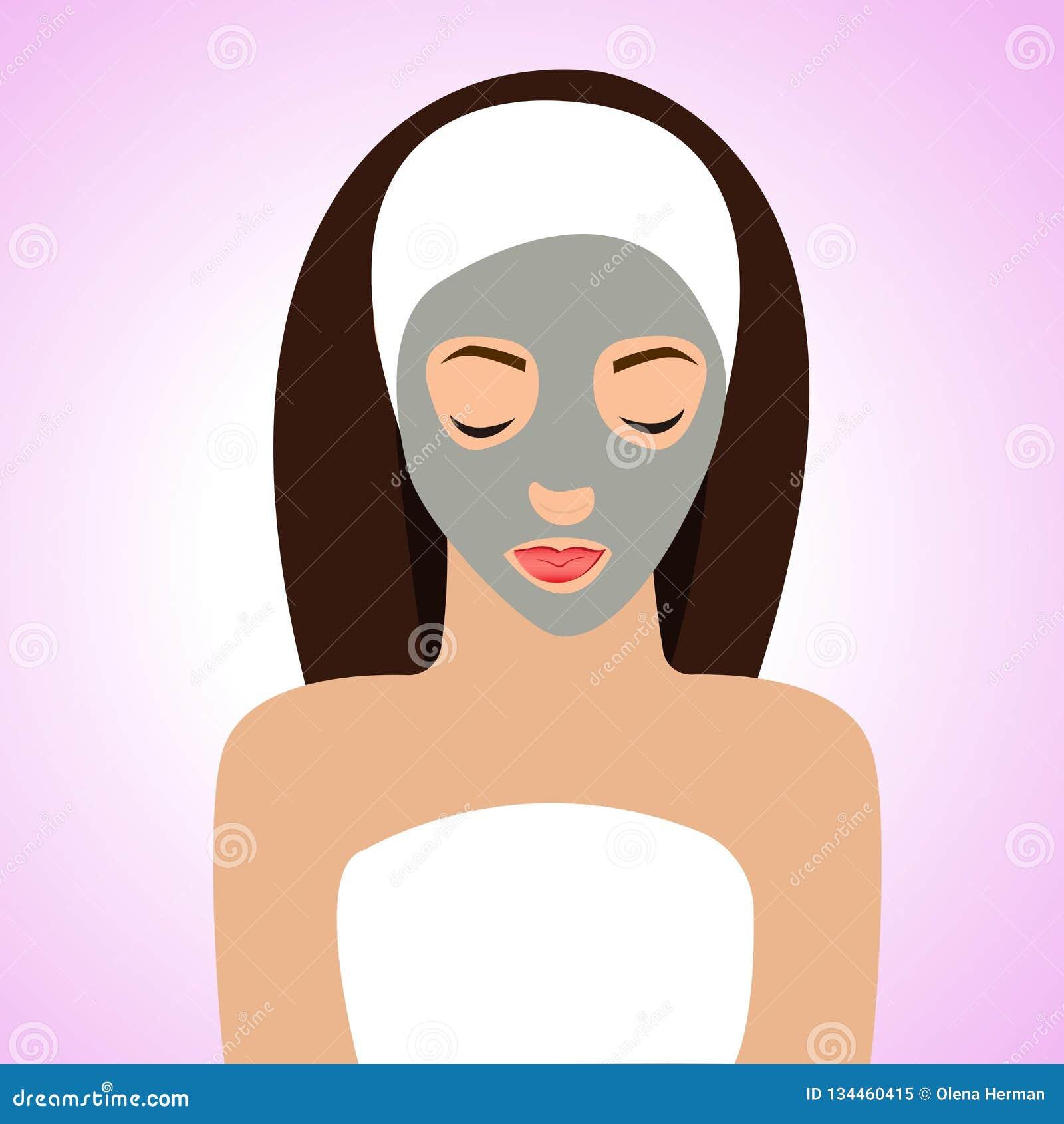 Härlig kvinna med maskeringen för perfekt hud