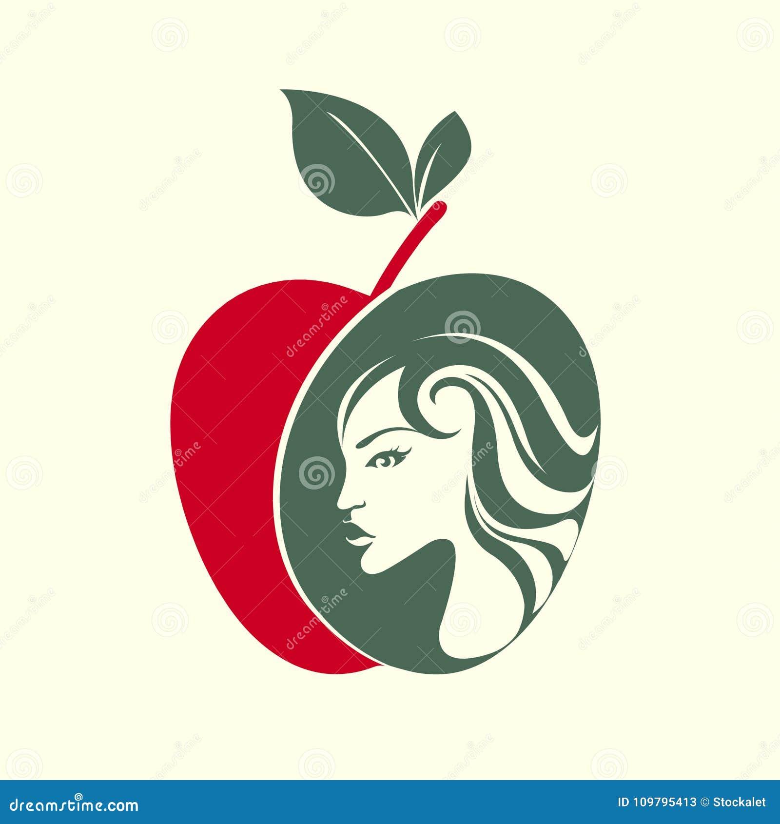 Härlig kvinnaframsida i en äppleform Helgdagsaftonstående