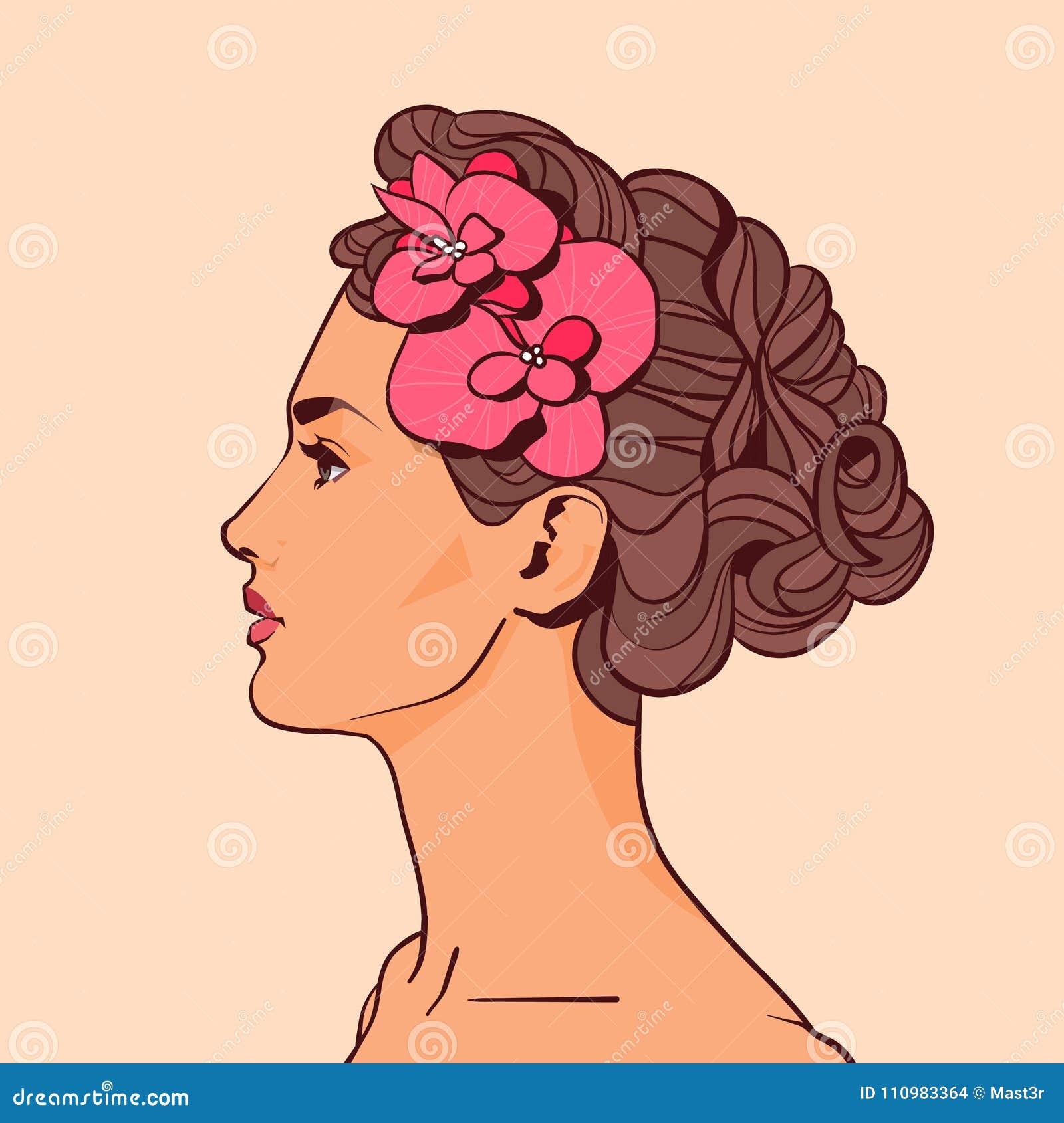 Härlig kvinnaprofil med blommor i attraktiv flicka för elegant frisyr på beige bakgrund
