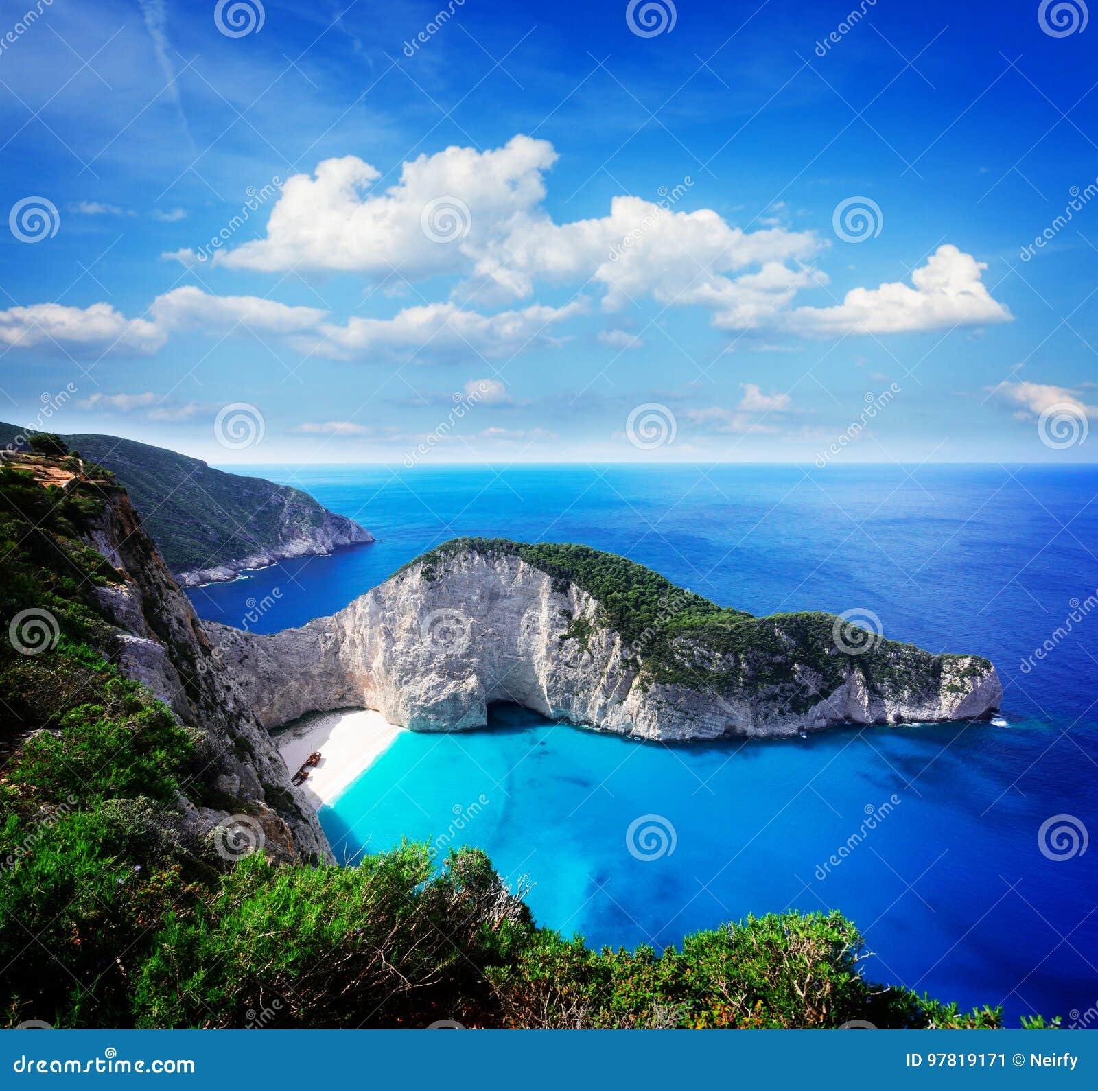 Härlig lanscape av den Zakinthos ön