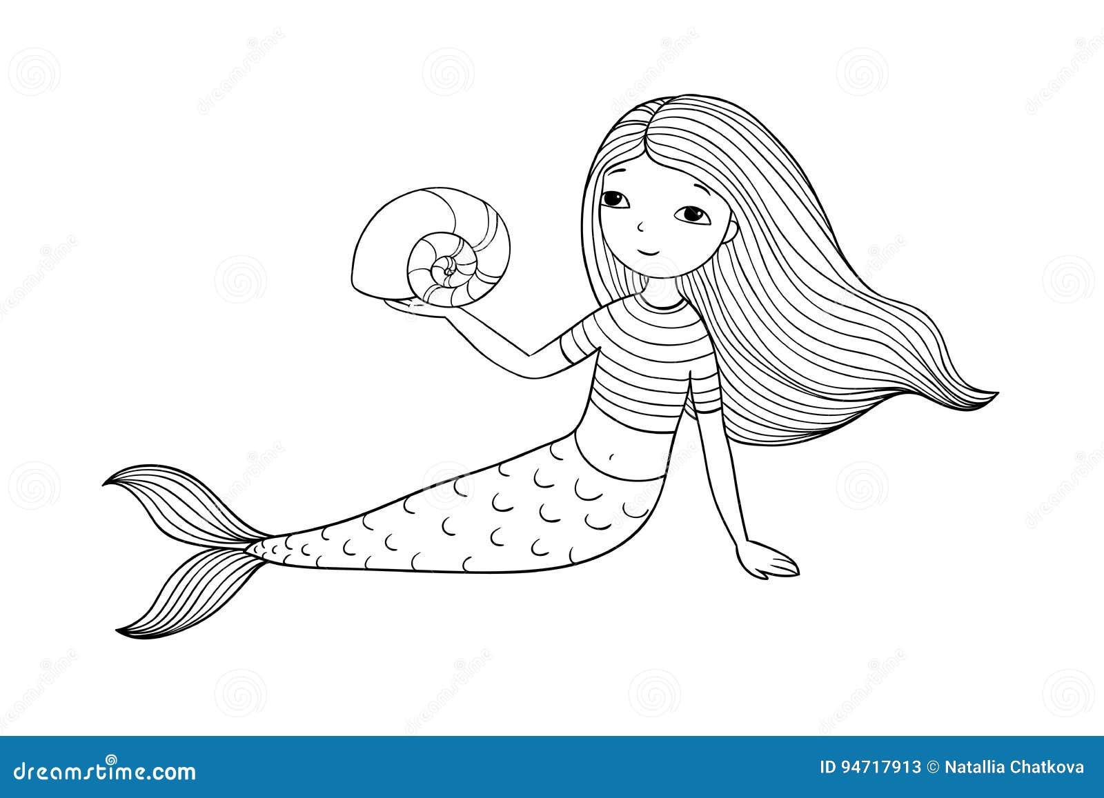Härlig liten sjöjungfru och skal siren
