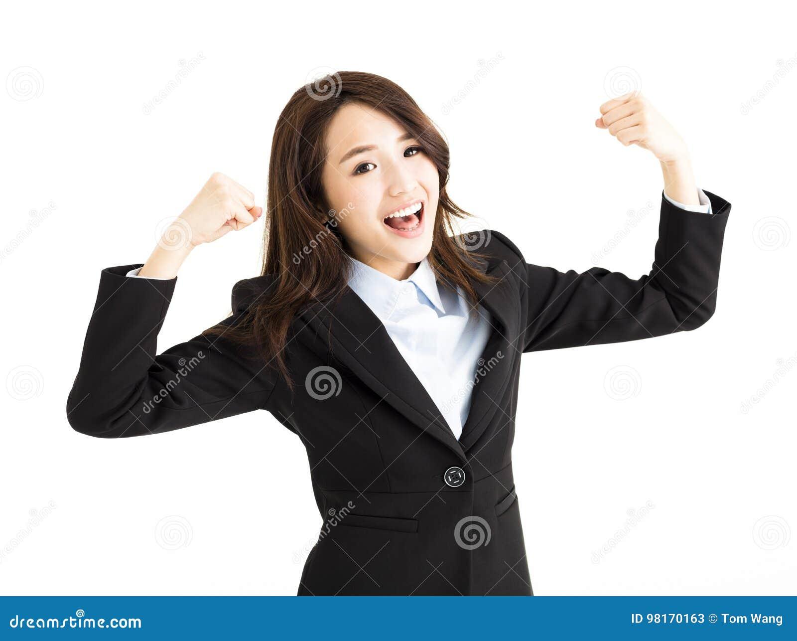 Härlig lycklig ung affärskvinna