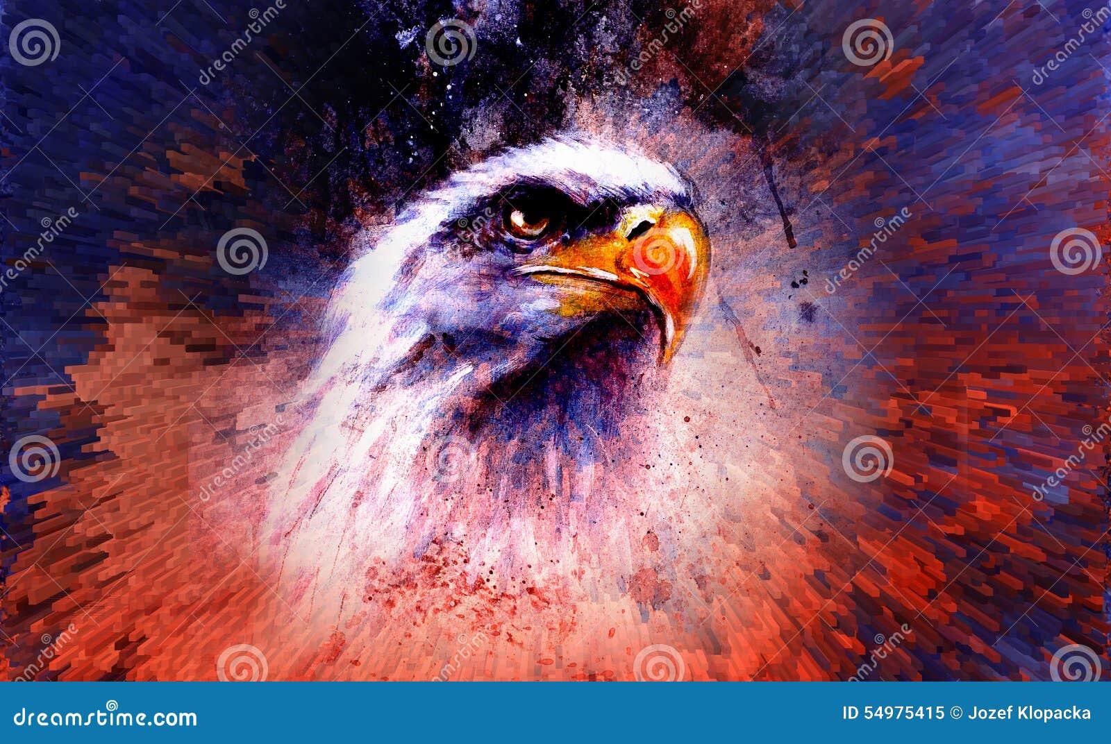 Härlig målning av örnen på en abstrakt bakgrund, färg med