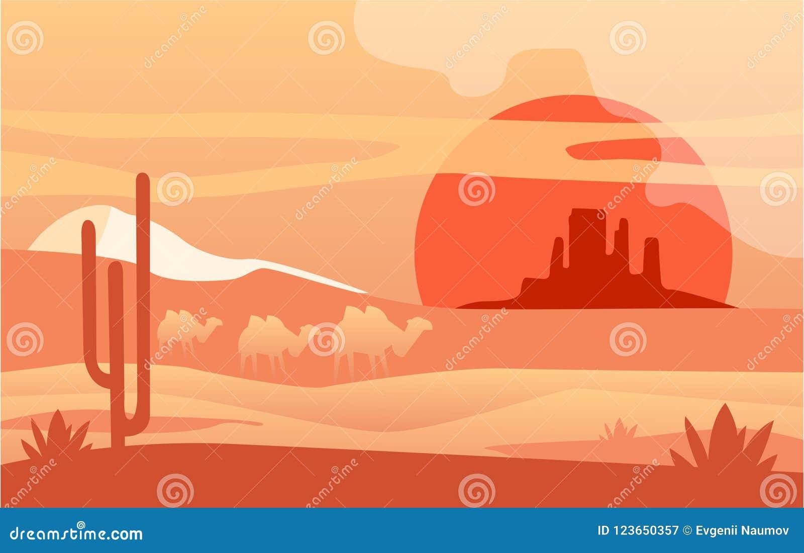 Härlig plats av naturen, fridsamt ökenlandskap med kamel, mall för banret, affisch, tidskrift, räkning