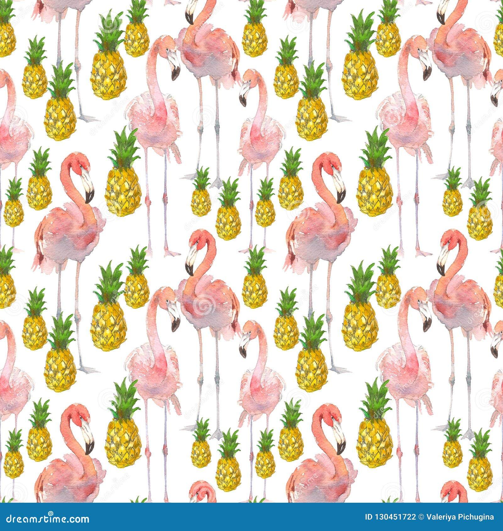 Härlig sömlös sommarmodellbakgrund med den tropiska flamingo och ananas Göra perfekt för tapeter, webbsida